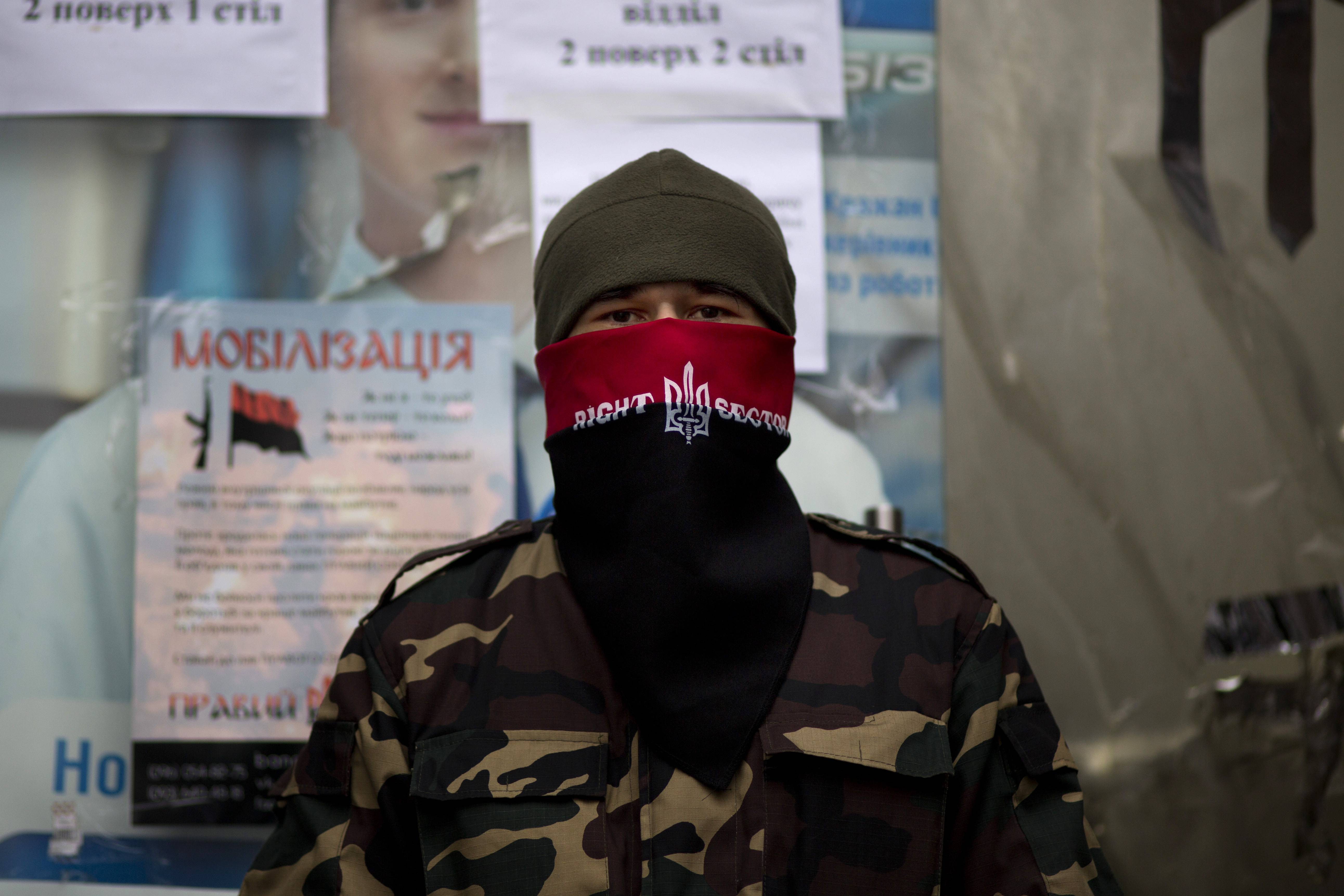 Several weeks after mass protests ousted Russian-leaning President Viktor Yanukovych, hundreds of members of the radical ultranationalist group, the Right Sector, continue to patrol central streets and occupy buildings in Kiev.