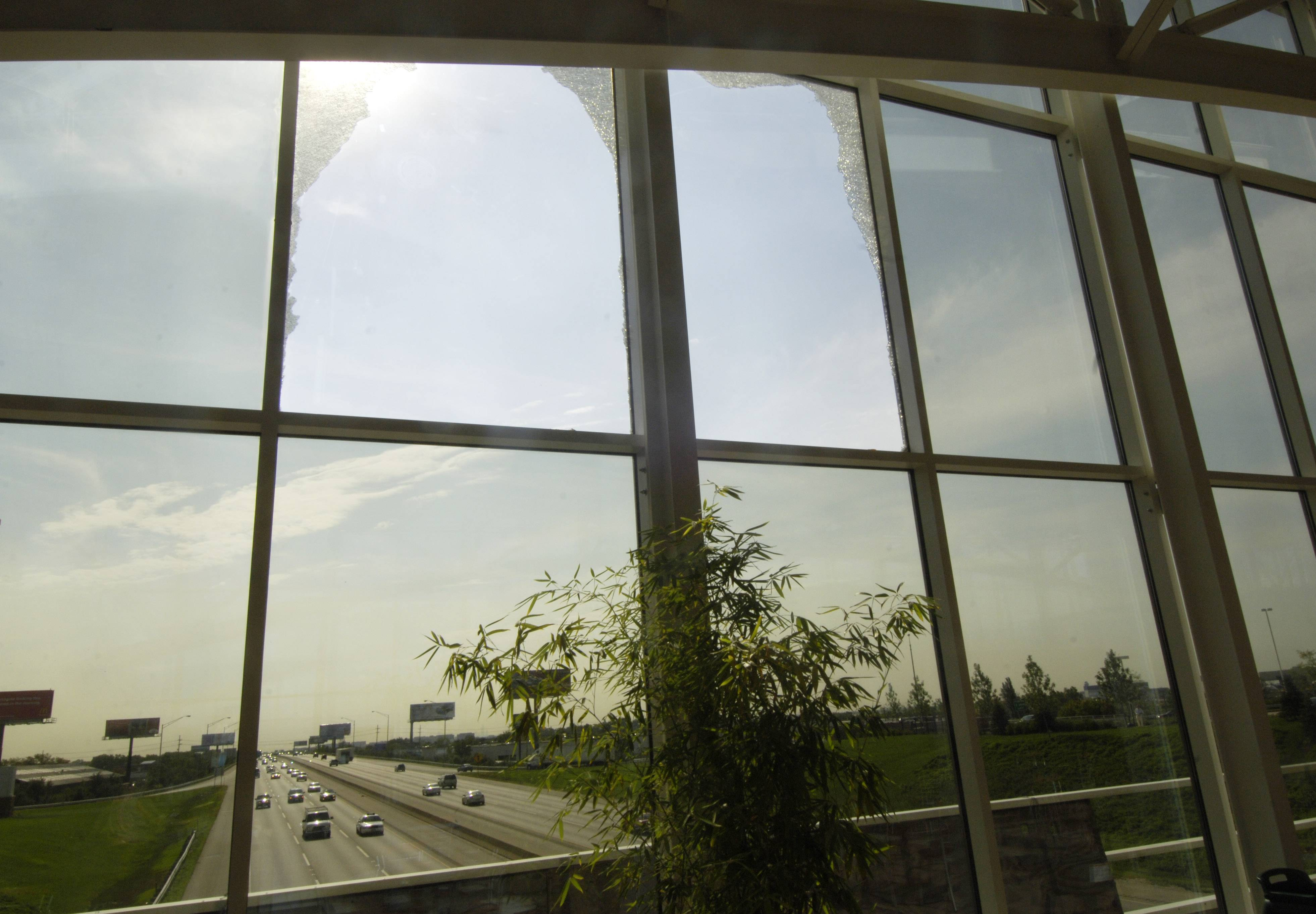 Broken windows at Des Plaines tollway oasis.