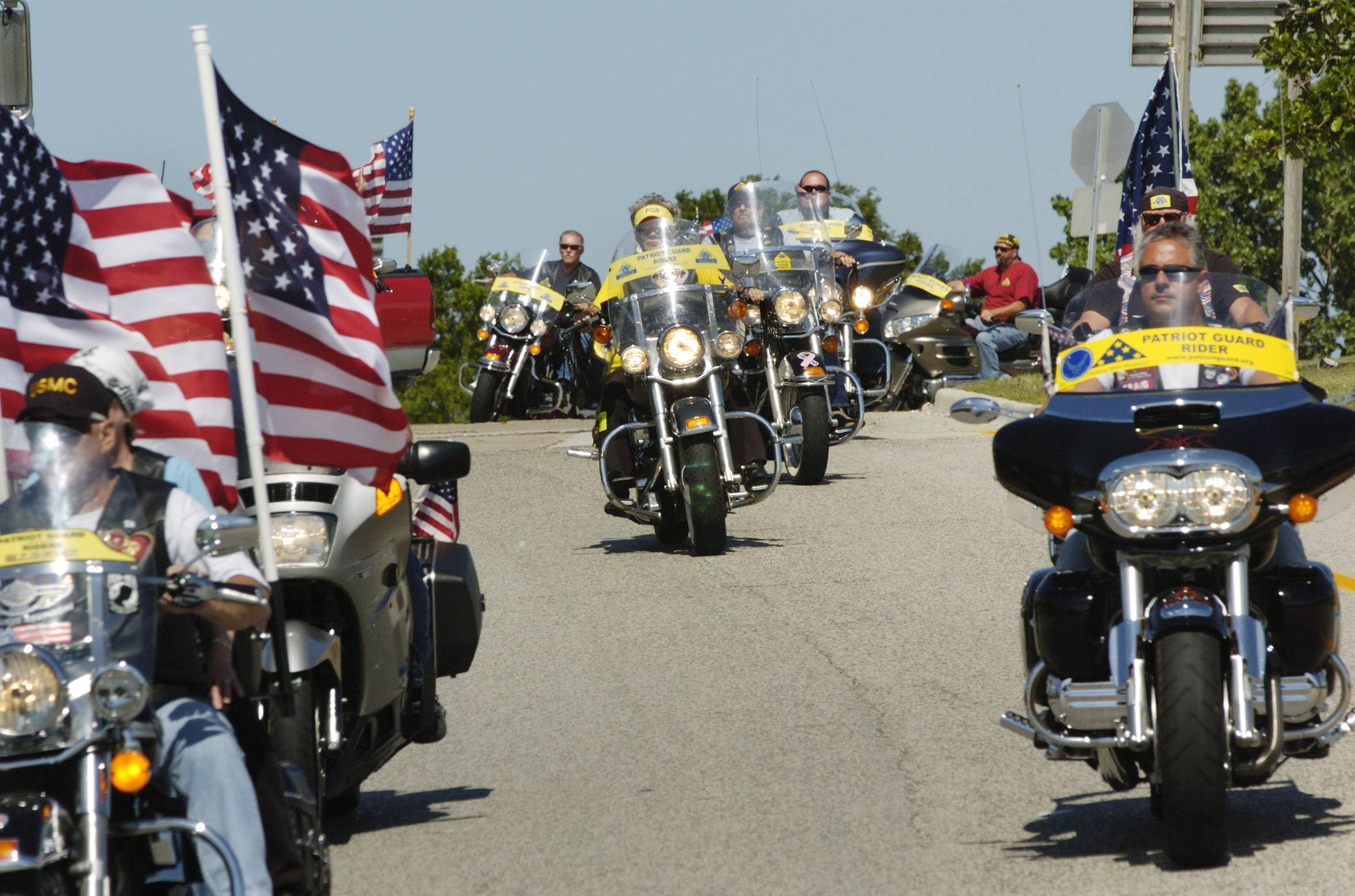 Patriot Guard Riders escort Palatine resident and U.S. Army SPC Patrick O'Connor from the Des Plaines oasis upon returning home on leave from Iraq.