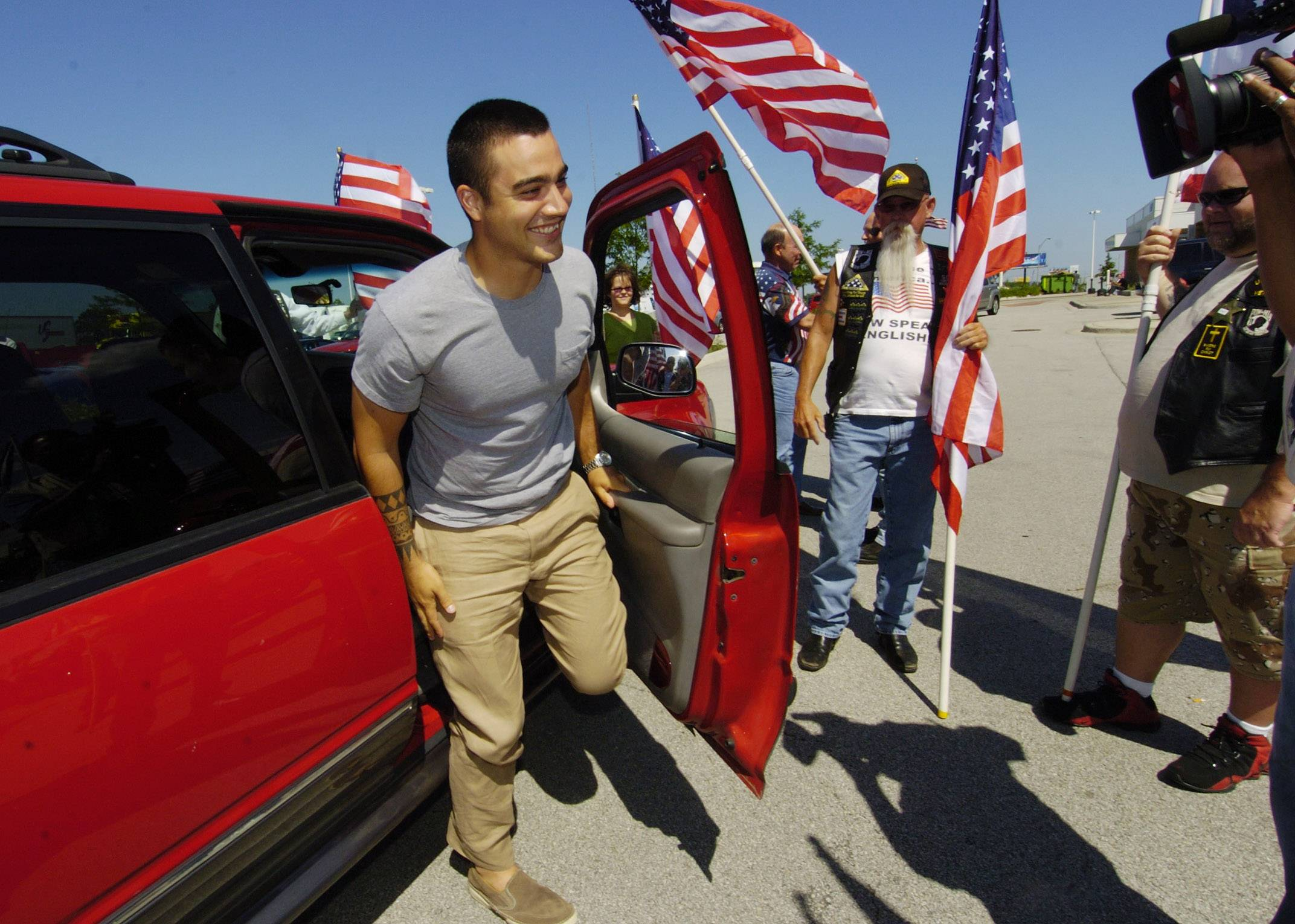 Palatine resident and U.S. Army SPC Patrick O'Connor returning home on leave being greeted by the Patriot Guard Riders at the Des Plaines oasis.