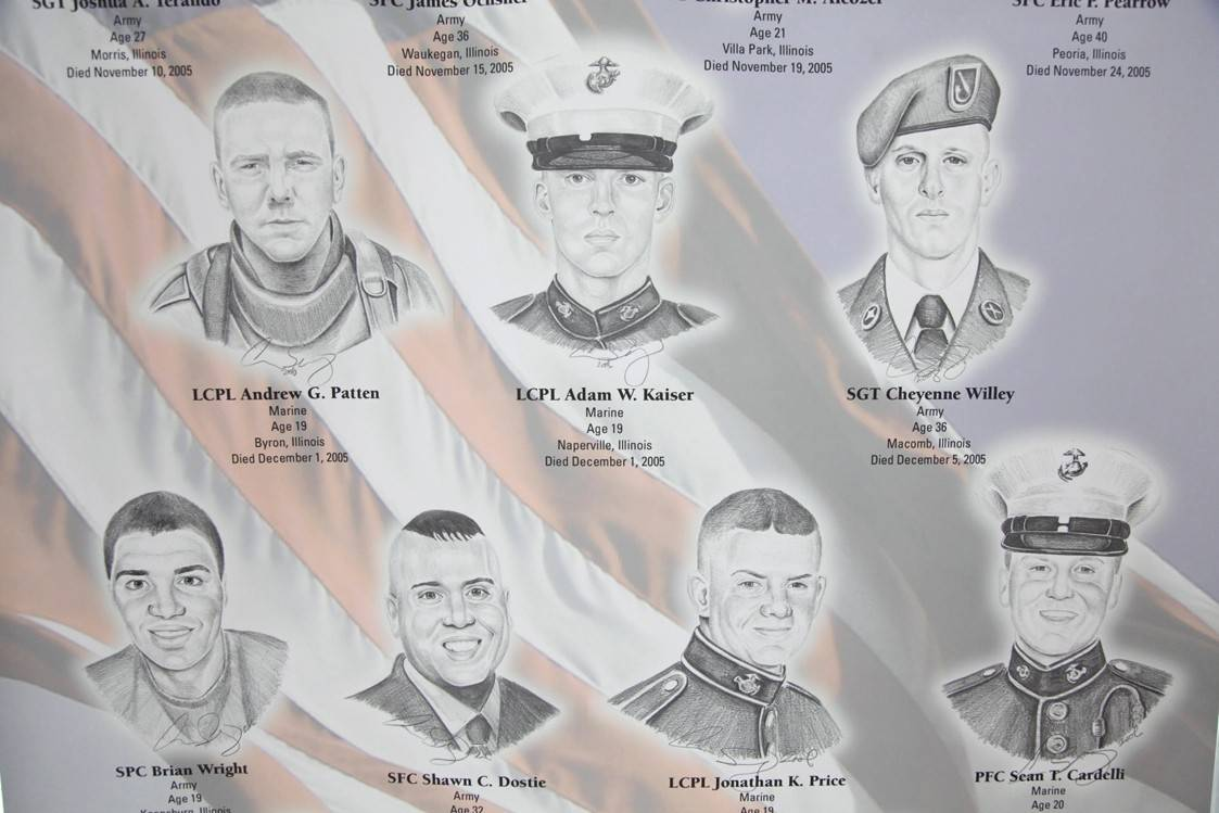 "The ""Portrait of a Soldier"" exhibition commemorating Illinois servicemen and women killed in combat since Sept. 11, 2011, at the Des Plaines Oasis."