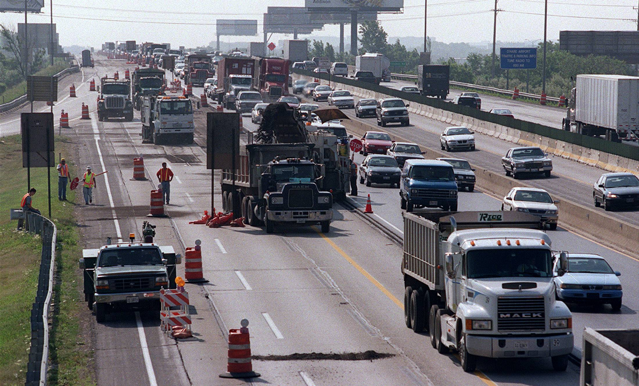 Road construction continues along the Northwest Tollway near the Des Plaines oasis causing continuous traffic backups.