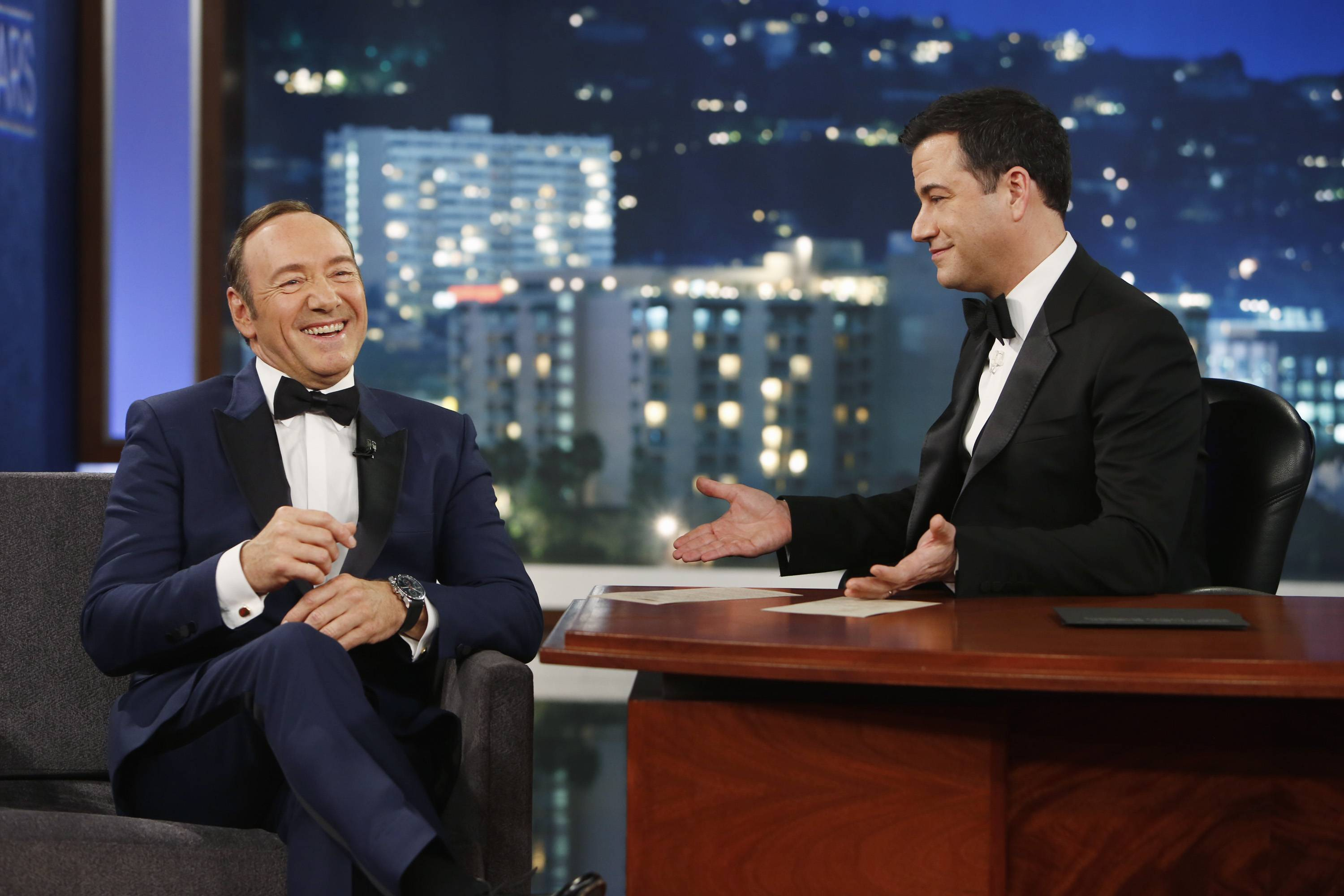 "In this image provided by ABC, Kevin Spacey appears on the 9th annual ""Jimmy Kimmel Live: After the Oscars"" special in Los Angeles on March 2. Spacey's appearance followed a brief cameo by Toronto Mayor Rob Ford, who was scheduled to appear on the March 3 show. Ford is claiming he wouldn't know Kevin Spacey ""if I ran over him,"" after the House of Cards star poked fun at the mayor after his cameo."