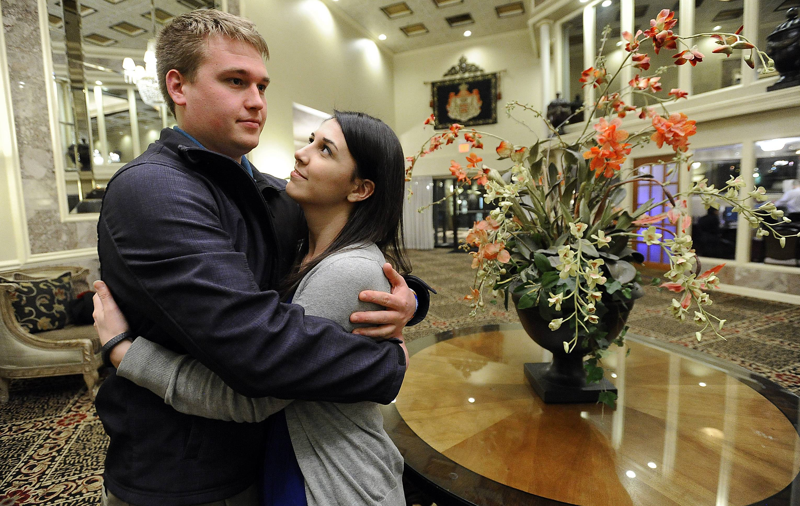 John Mueller and Kelly Bayer tour The Cotillion in Palatine, where they now plan on holding their summer wedding reception. The engaged couple scrambled to find a venue after their earlier location, Bristol Courts Banquets, abruptly closed.