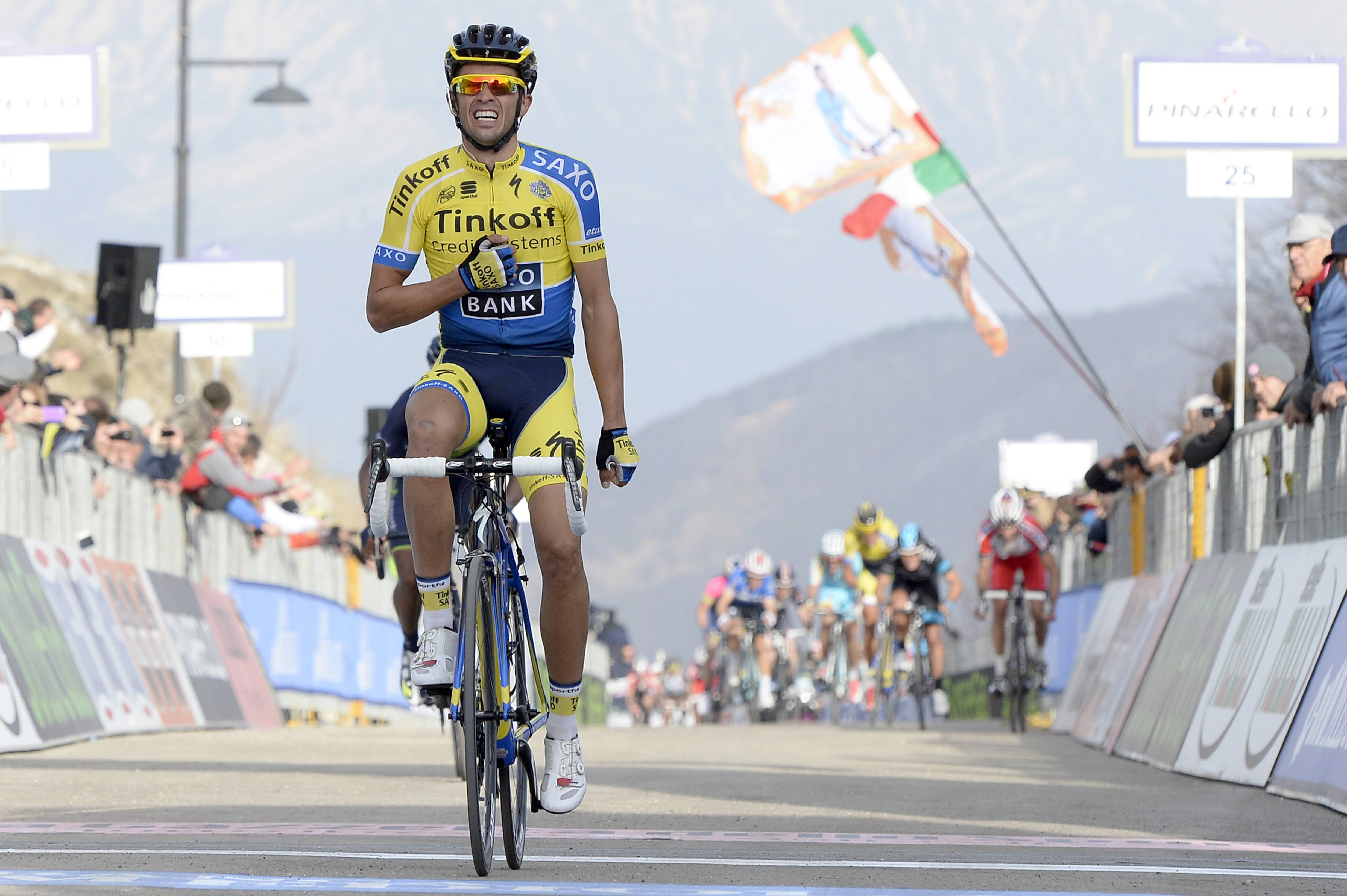 Spain's Alberto Contador celebrates as he wins the fourth stage of the Tirreno-Adriatico cycling race Saturday in Cittareale Selvarotonda, Italy