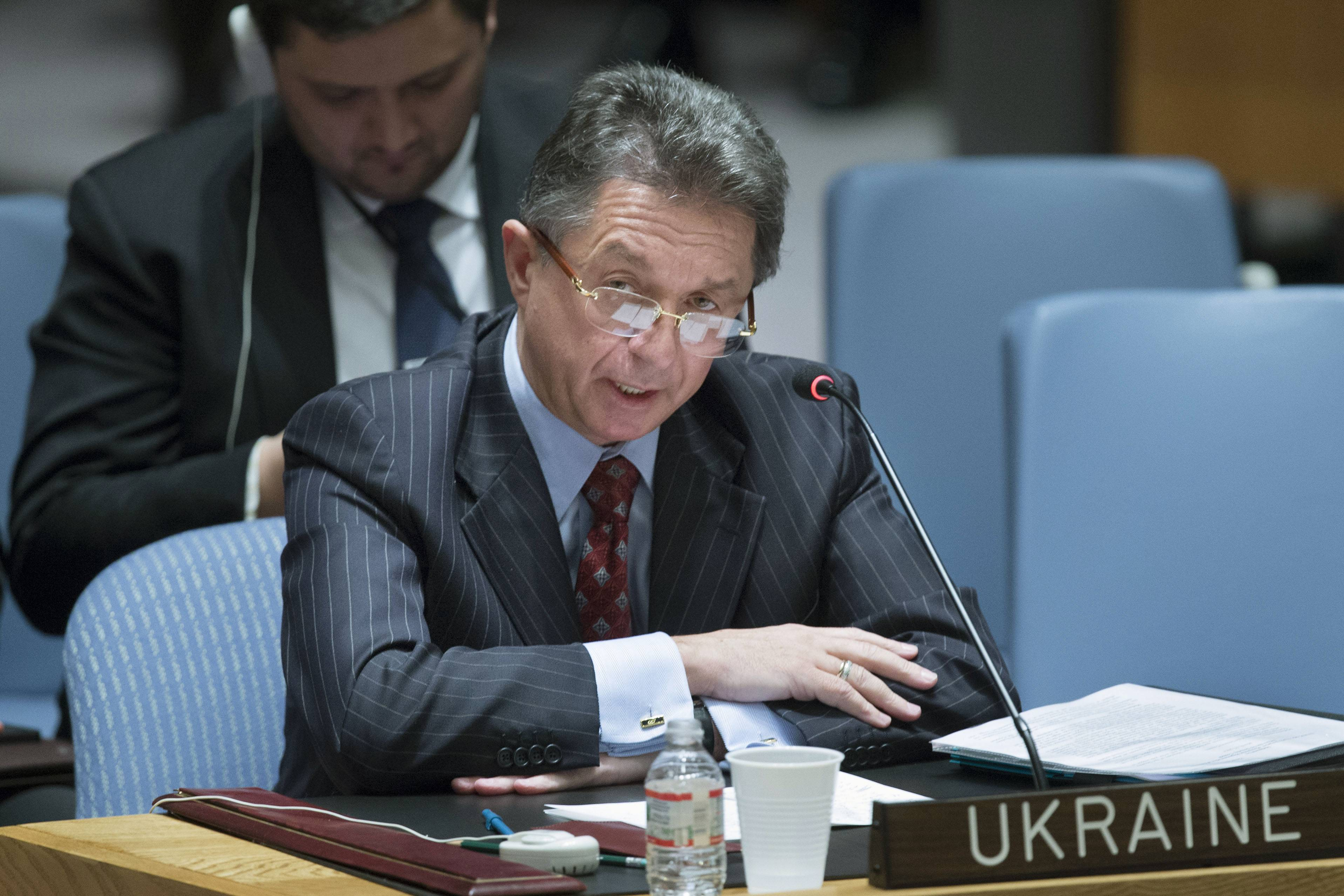 Ukraine's U.N. Ambassador Yuriy Sergeyev speaks during an U.N. Security Council meeting on the Ukraine crisis, Saturday, March 15, at the United Nations headquarters. Russia vetoed a U.N. resolution declaring Sunday's referendum on the future of Ukraine's Crimean Peninsula illegal, but its close ally China abstained in a show of Moscow's isolation. Supporters of the U.S.-sponsored resolution knew that Russia would use its veto, but they put the resolution to a vote Saturday morning to show the strength of opposition to Moscow's takeover of Crimea.