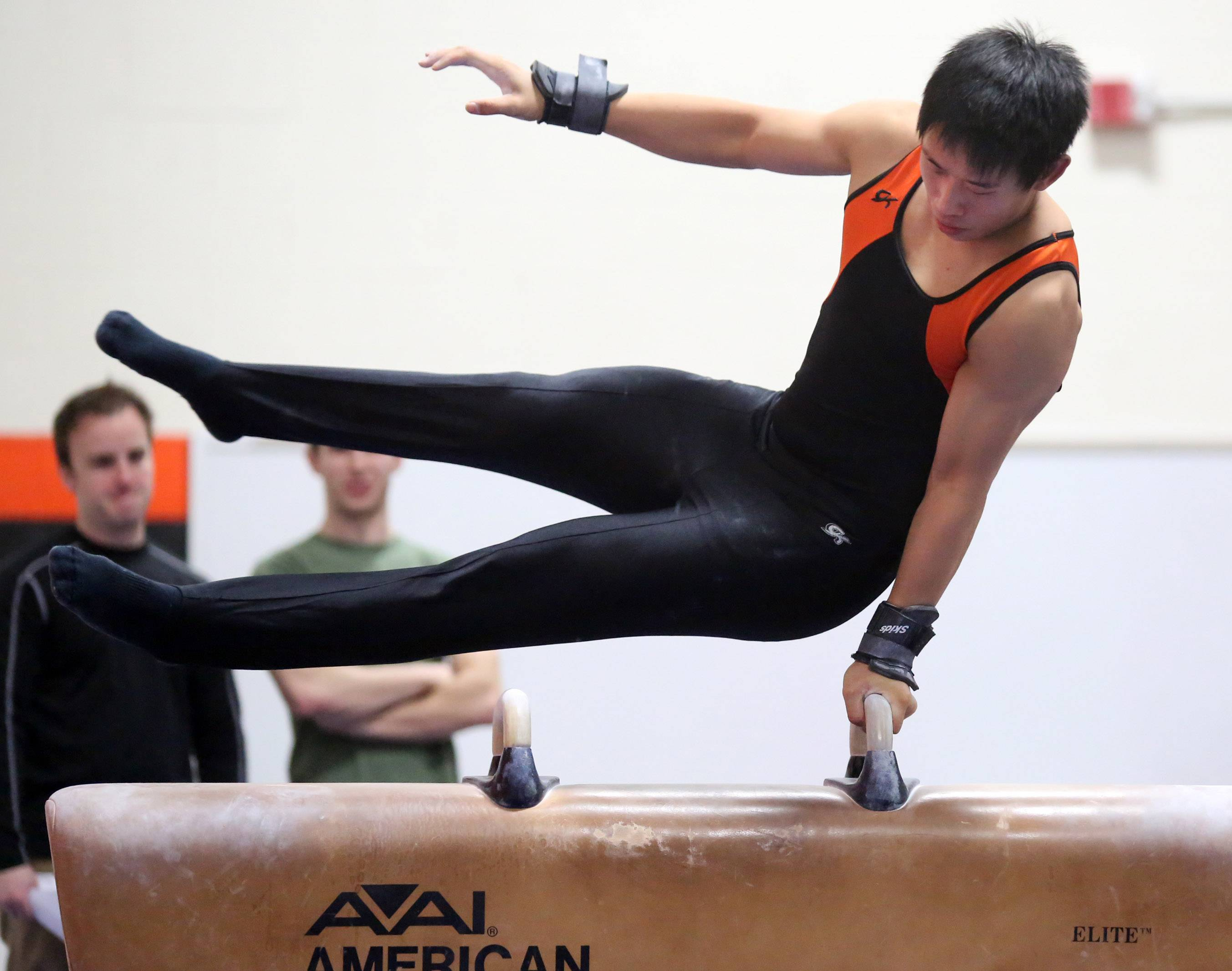 Libertyville's Alex Pong competes on pommel horse on Saturday at Libertyville.