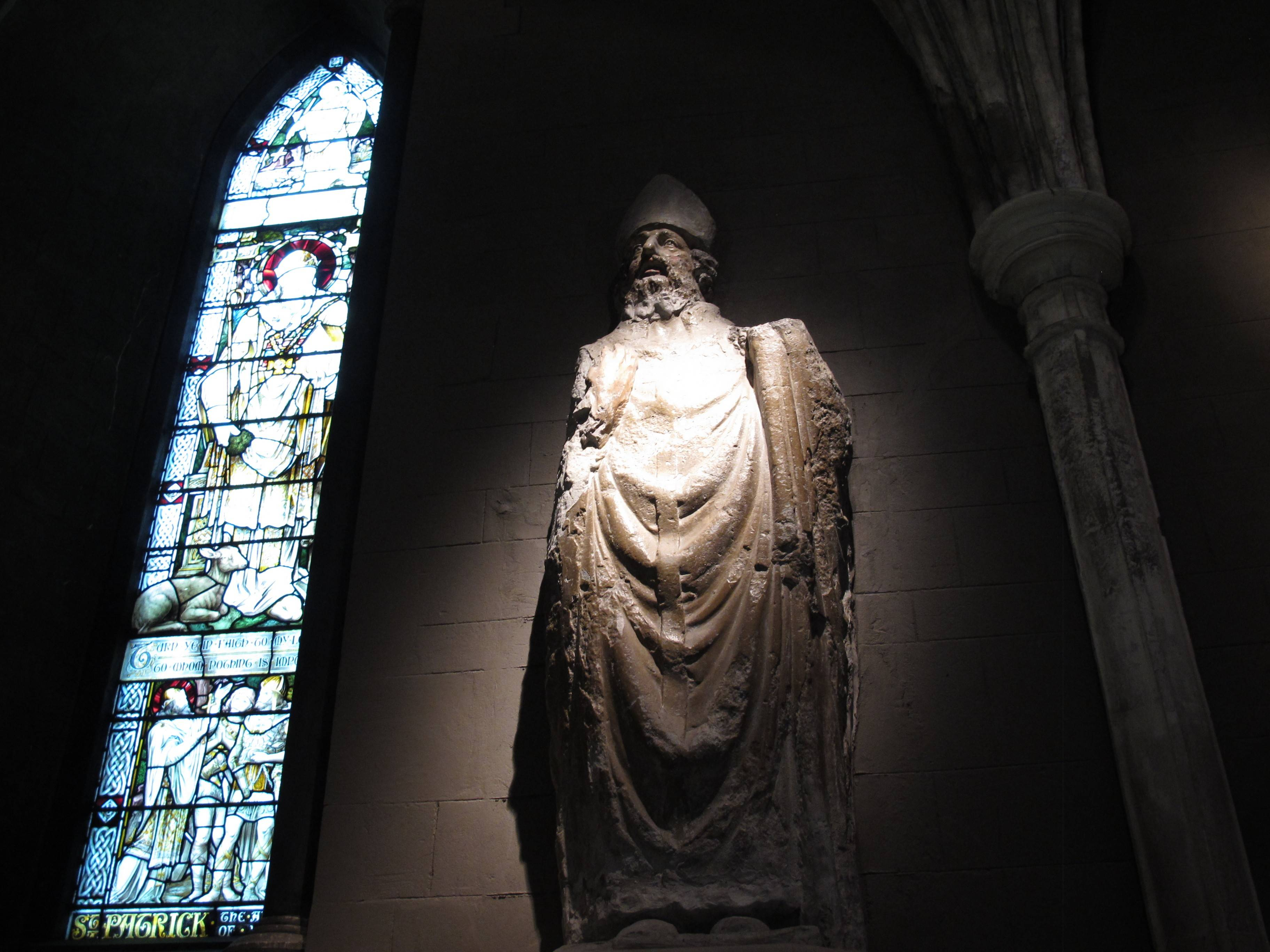Those interested in the life of St. Patrick can visit a statue of him in St. Patrick's Cathedral, Dublin. The stained glass window depicts the life of the fifth-century saint who brought Christianity to Ireland.