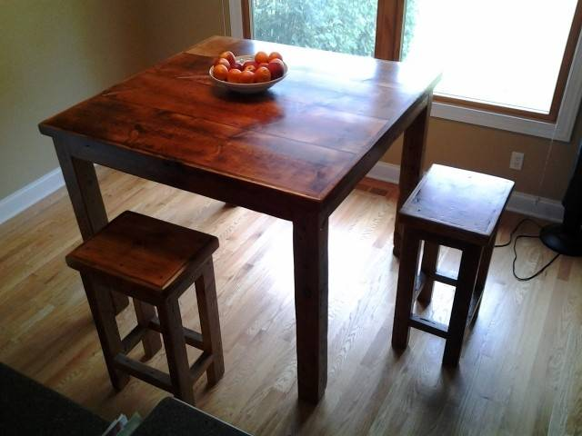 This pub table was made by Rodney Dorrance, a third generation carpenter and woodworker who uses reclaimed barn wood to make furniture.