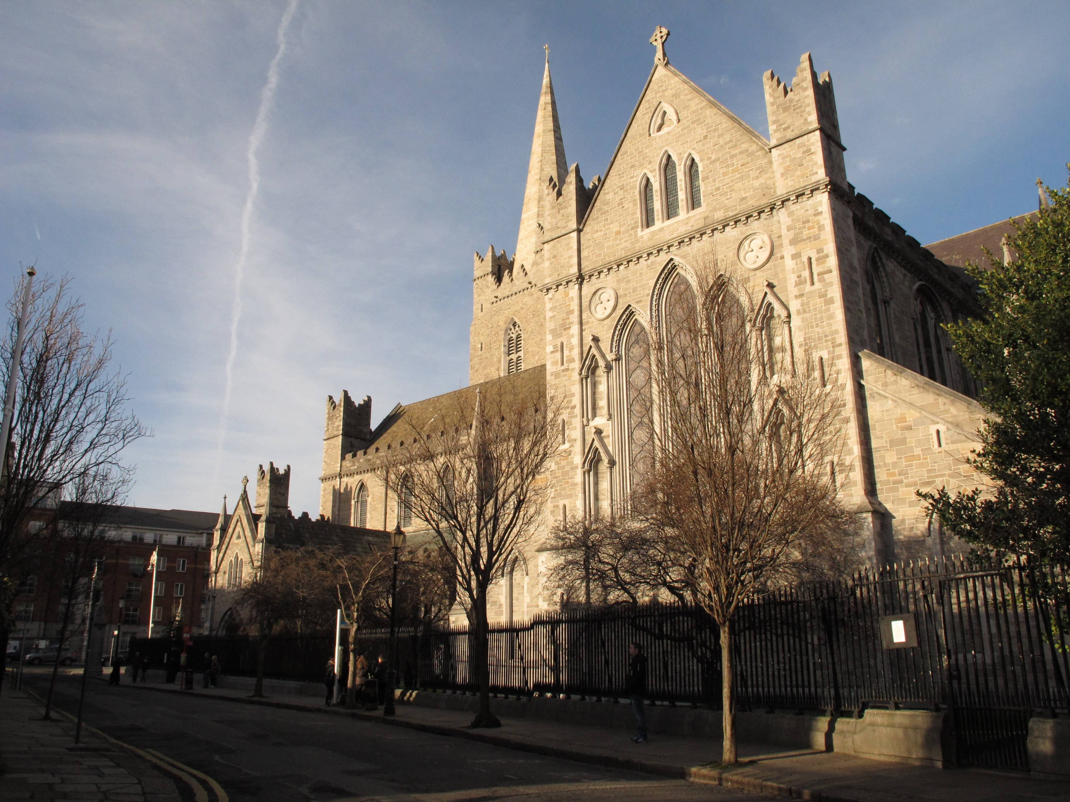 The grounds of St. Patrick's Cathedral in Dublin, built in 1220 in honor of Ireland's patron Saint, include an ancient well, where tradition says St. Patrick baptized converts on his visit to Dublin in the fifth century.