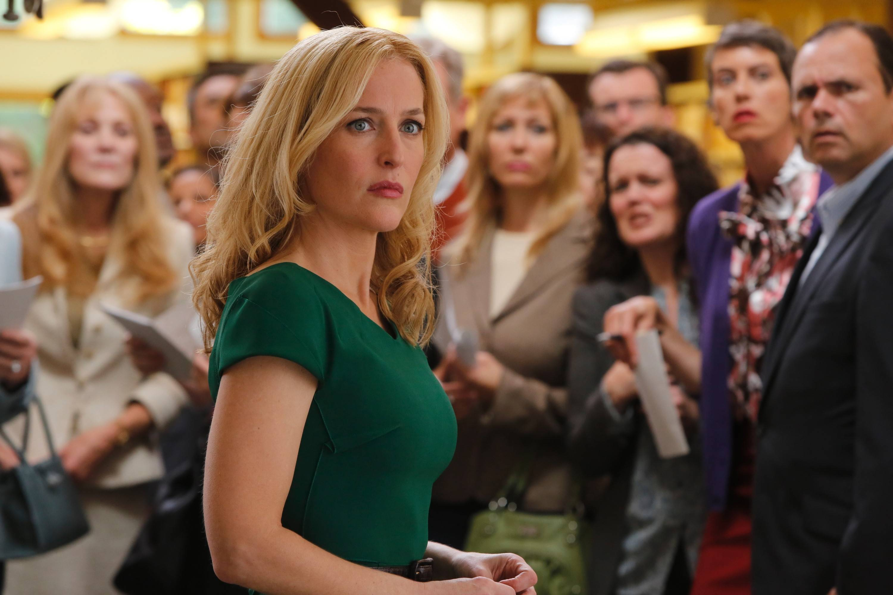 "The kidnapping of a group of teens on a school field trip rocks IT CEO Meg Fitch (Gillian Anderson) and other powerful parents in NBC's ""Crisis."""