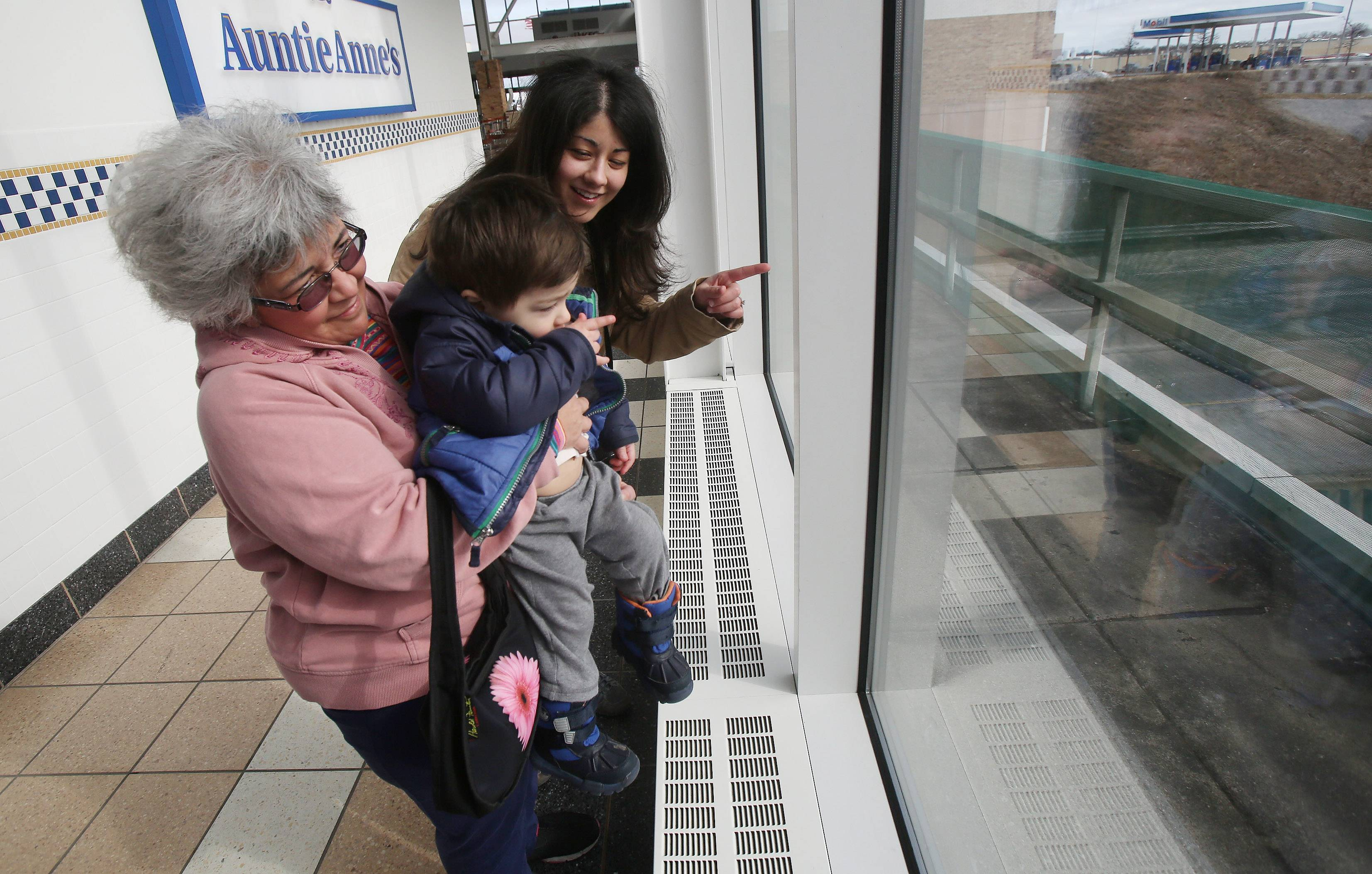 "Rolling Meadows resident Susan Weigner holds her grandson, Michael Bujnowski, 2, with his mother, Christina, to watch the tollway traffic for the last time on the final day of operation of the Des Plaines Oasis. ""This place is fabulous. I'm going to be sad to see it go,"" said Weigner."
