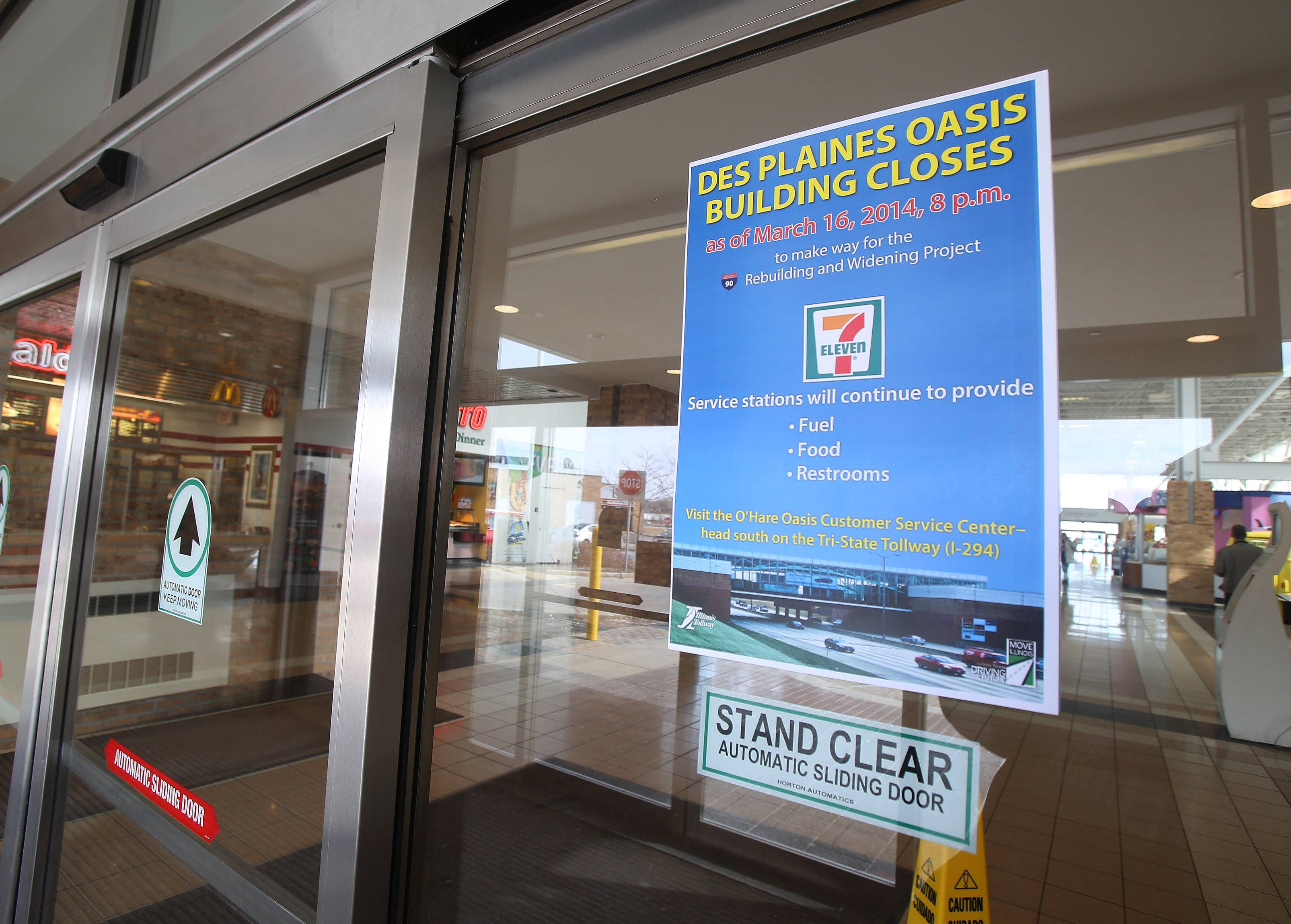A sign on the front door tells the story of the Des Plaines Oasis' closing Sunday.