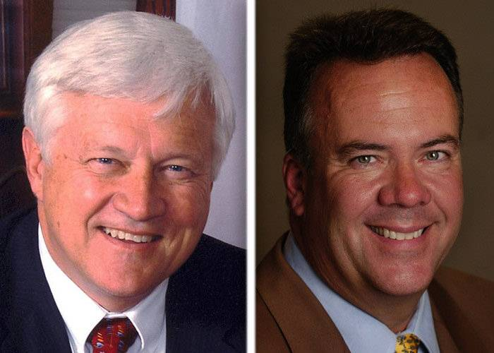 Jack Cunningham, left, and Mark Davoust are Republican candidates in the race for Kane County clerk.