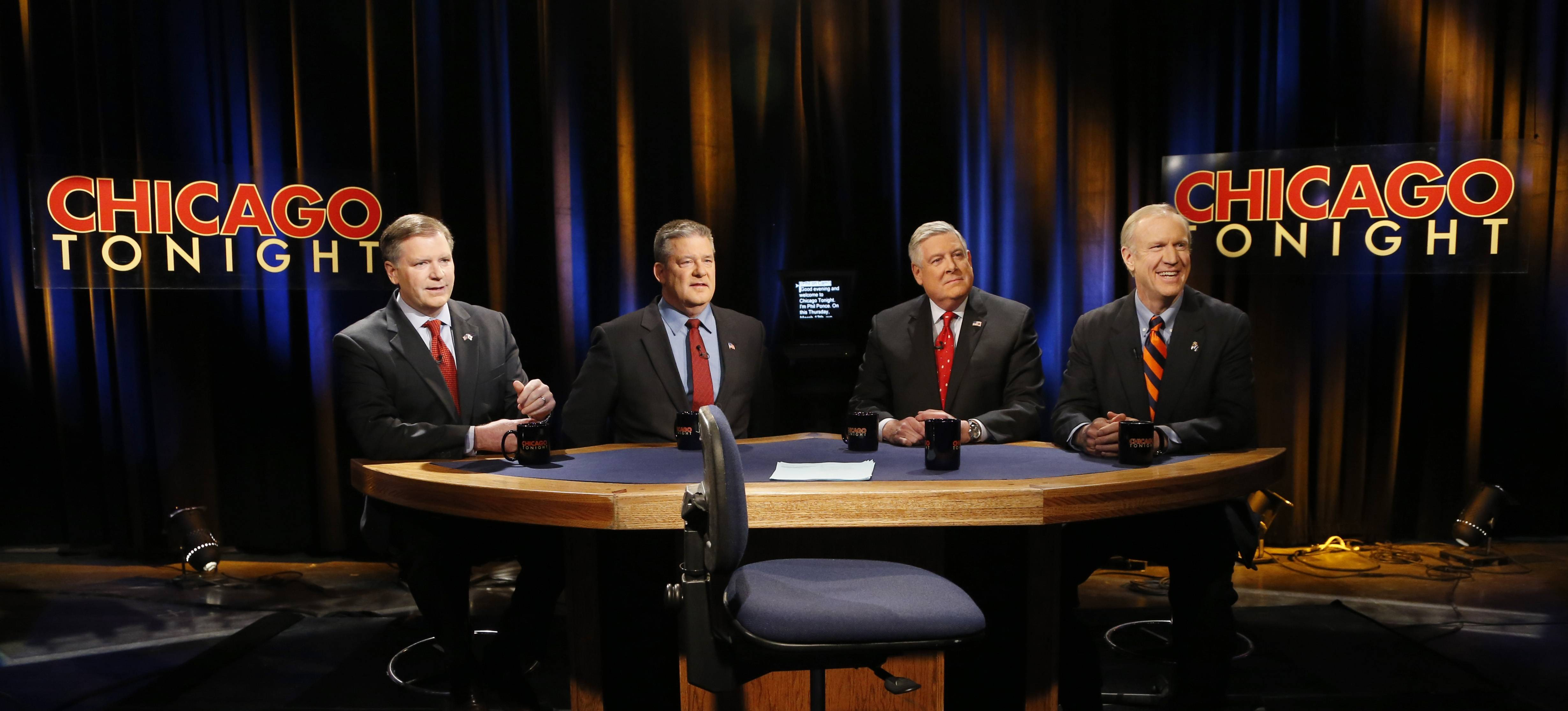 Republican gubernatorial primary candidates from left, state Sen. Bill Brady, state Treasurer Dan Rutherford, state Sen. Kirk Dillard and Bruce Rauner, prepare for their last televised debate Thursday before next week's primary in Chicago.
