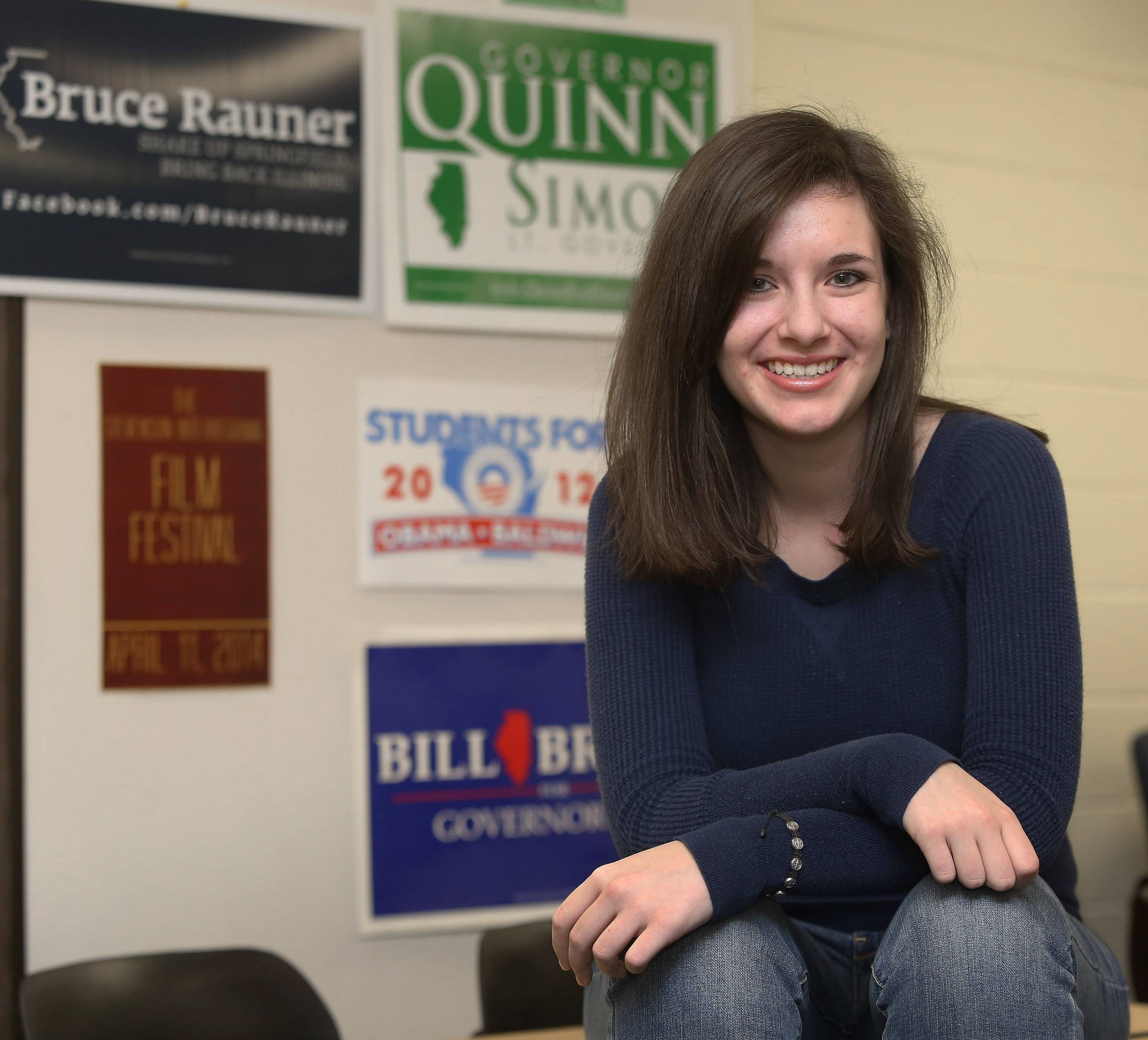 Jennie Matz, 17, sits in her government class at Stevenson High School in Lincolnshire. If they'll be 18 by Nov. 4, 17-year-olds will be able to vote in the primary election. It's the first time people under 18 have been eligible to vote in Illinois.