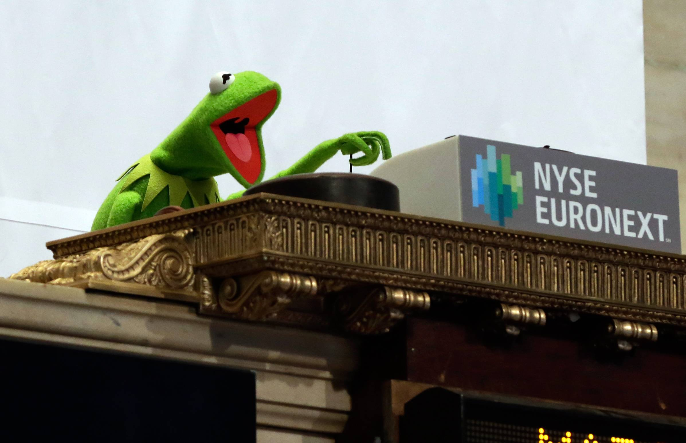 Kermit the Frog brought good luck to the New York Stock Exchange, where he rang the opening bell on Monday, to promote the newest Muppets movie. The Standard & Poor's 500 Index rose, rebounding from its worst week since January, as data showing a gain in industrial production boosted optimism over the economy and investors watched developments in Ukraine.