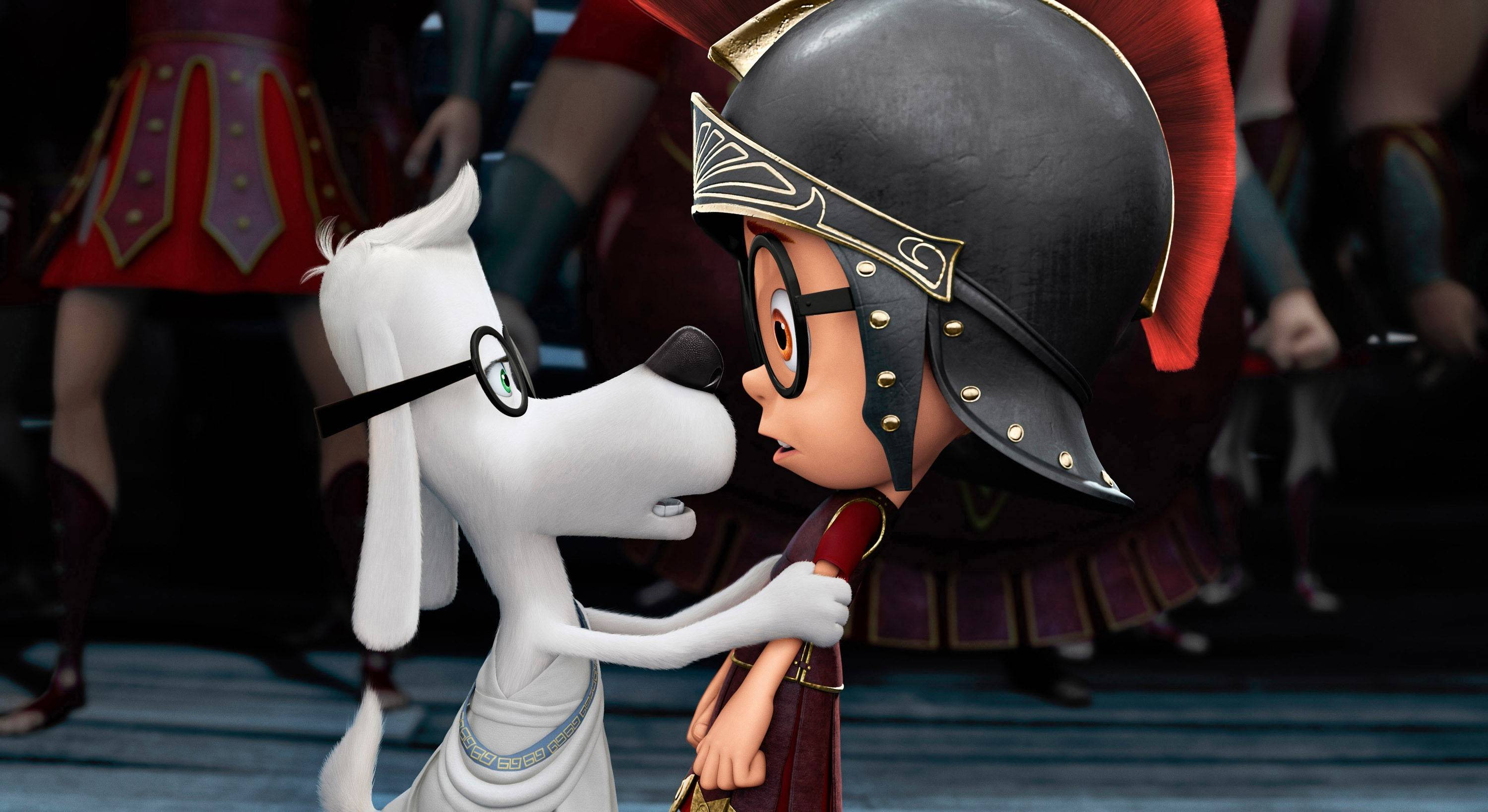 "This image released by DreamWorks Animation shows Sherman, voiced by Max Charles, right, and Mr. Peabody, voiced by Ty Burell, in a scene from ""Mr Peabody & Sherman,"" which earned more than $20 million and the top spot at the box office."