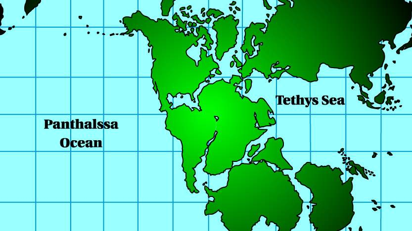 A map showing what scientists believe the earth looked like 250 million years ago.