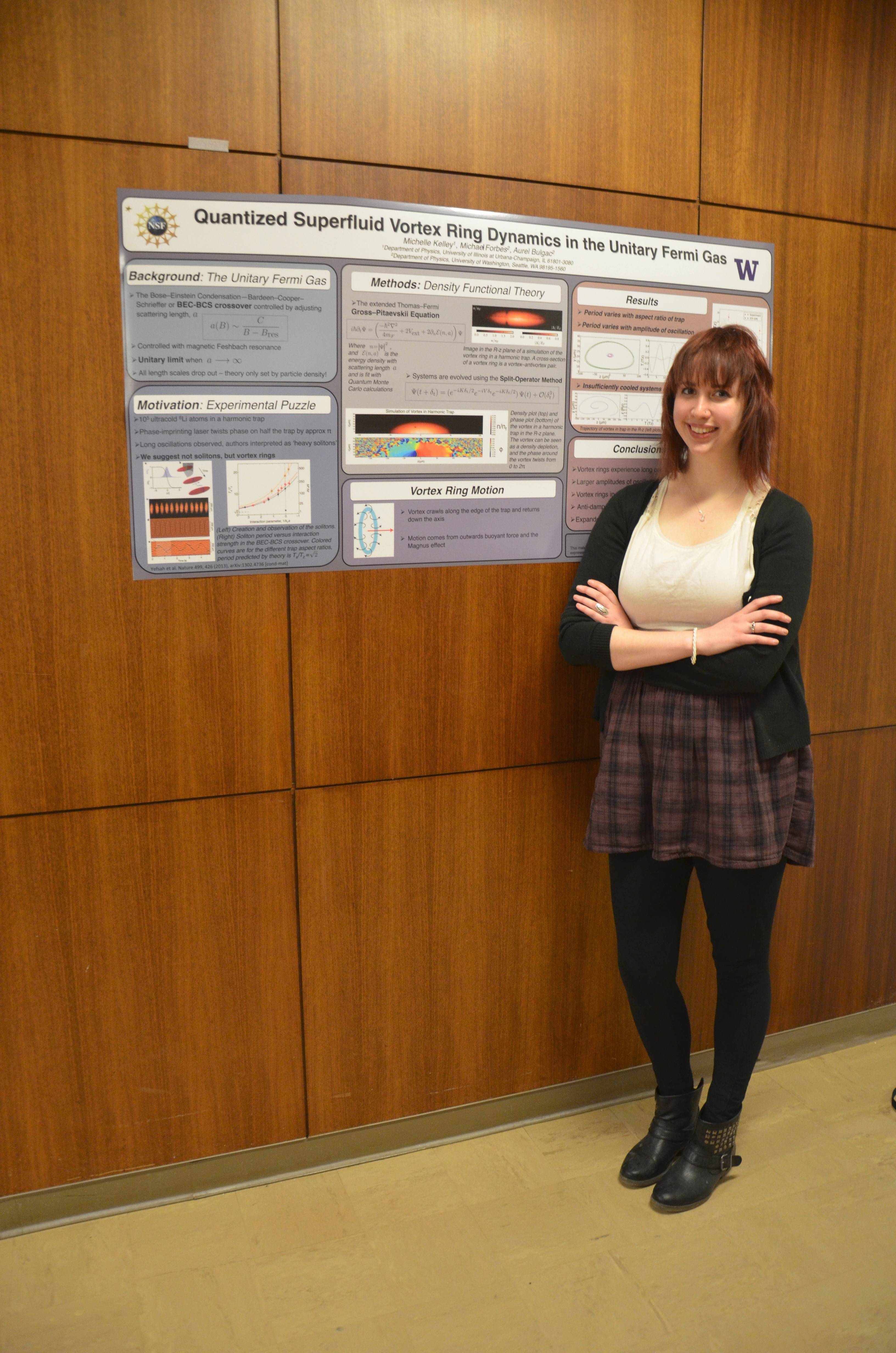 Schaumburg native Michelle Kelley will be a graduate student at the University of Cambridge in England after earning a prestigious Gates Cambridge Scholarship valued at $50,000. She's with her poster that won an award at the 2014 Midwest Conference for Undergraduate Women in Physics at the University of Chicago.