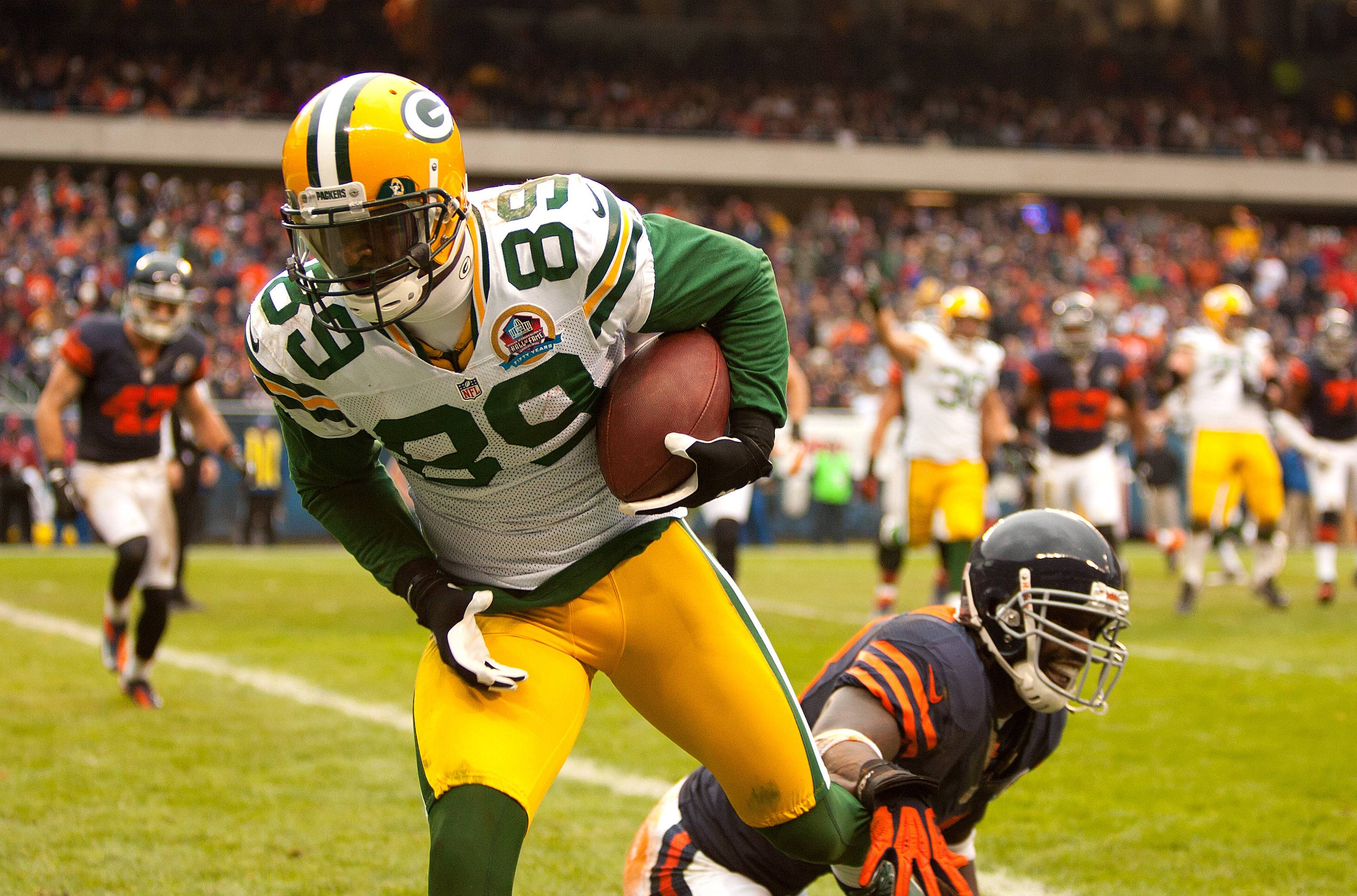 The Packers' James Jones scores a touchdown against the Bears last season.