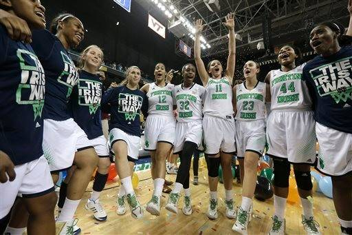 Notre Dame players celebrate winning the Atlantic Coast Conference Tournament earlier this month.