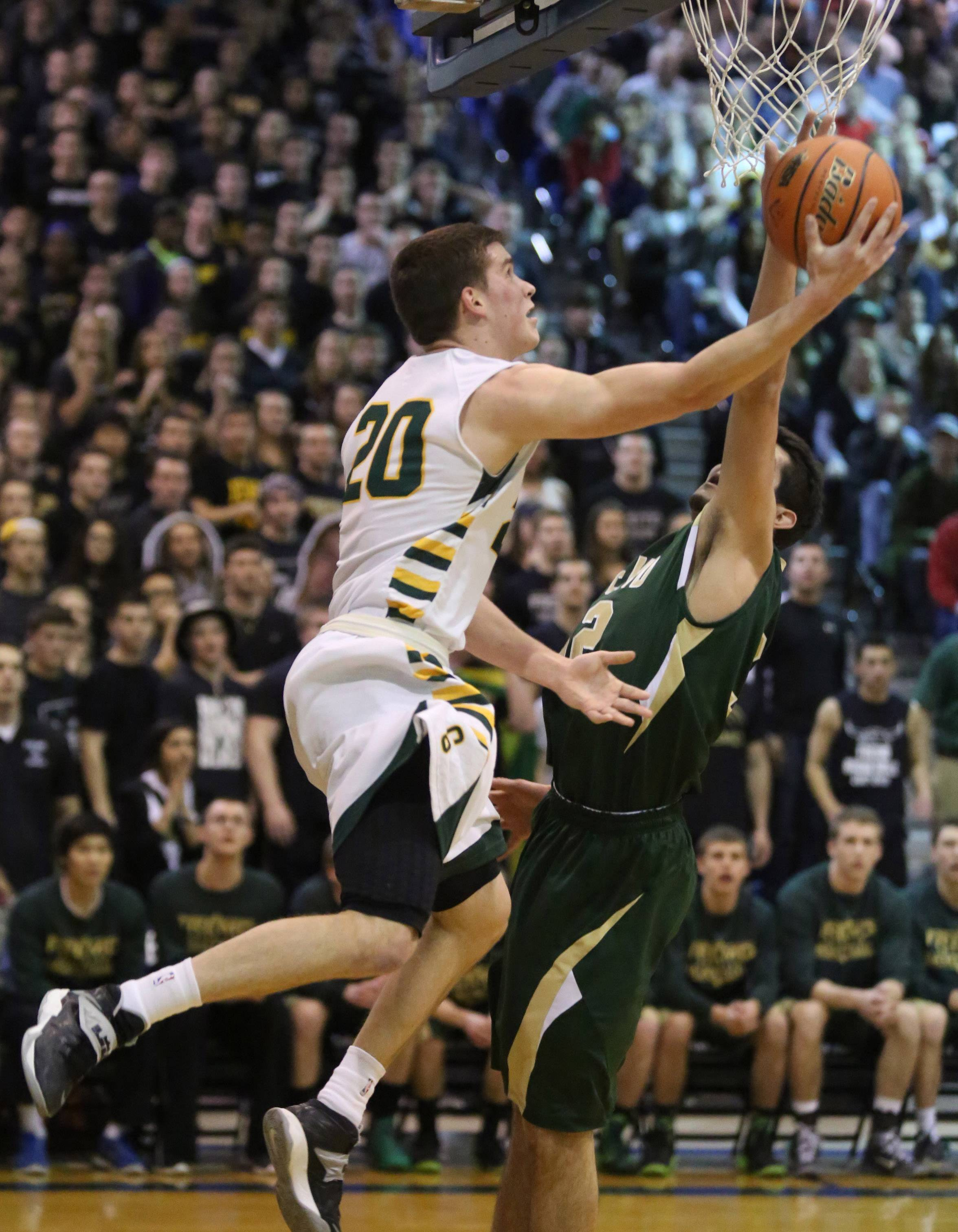 Stevenson guard Matt Morrissey lays the ball up against Fremd during the Patriots' victory in Friday's Lake Zurich sectional championship game.