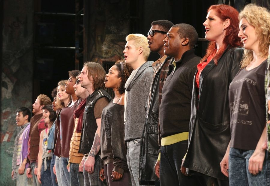 "The ensemble of ""Rent"" performs the Act II anthem ""Seasons of Love"" at the Paramount Theatre in Aurora."