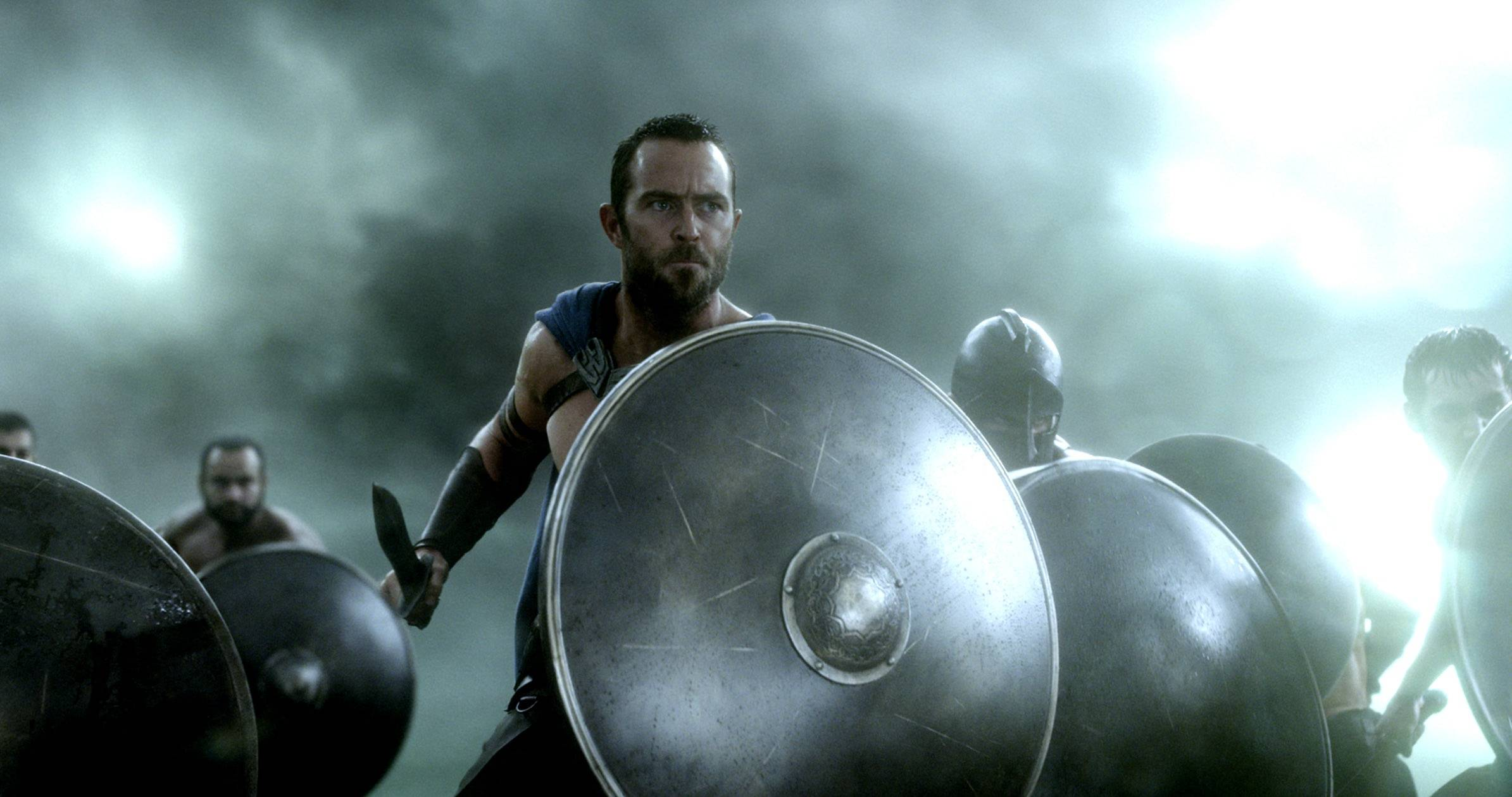 "This image released by Warner Bros. Pictures shows Sullivan Stapleton in the film, ""300: Rise of an Empire,"" which fell to the No. 2 spot at the box office in its second week of release."