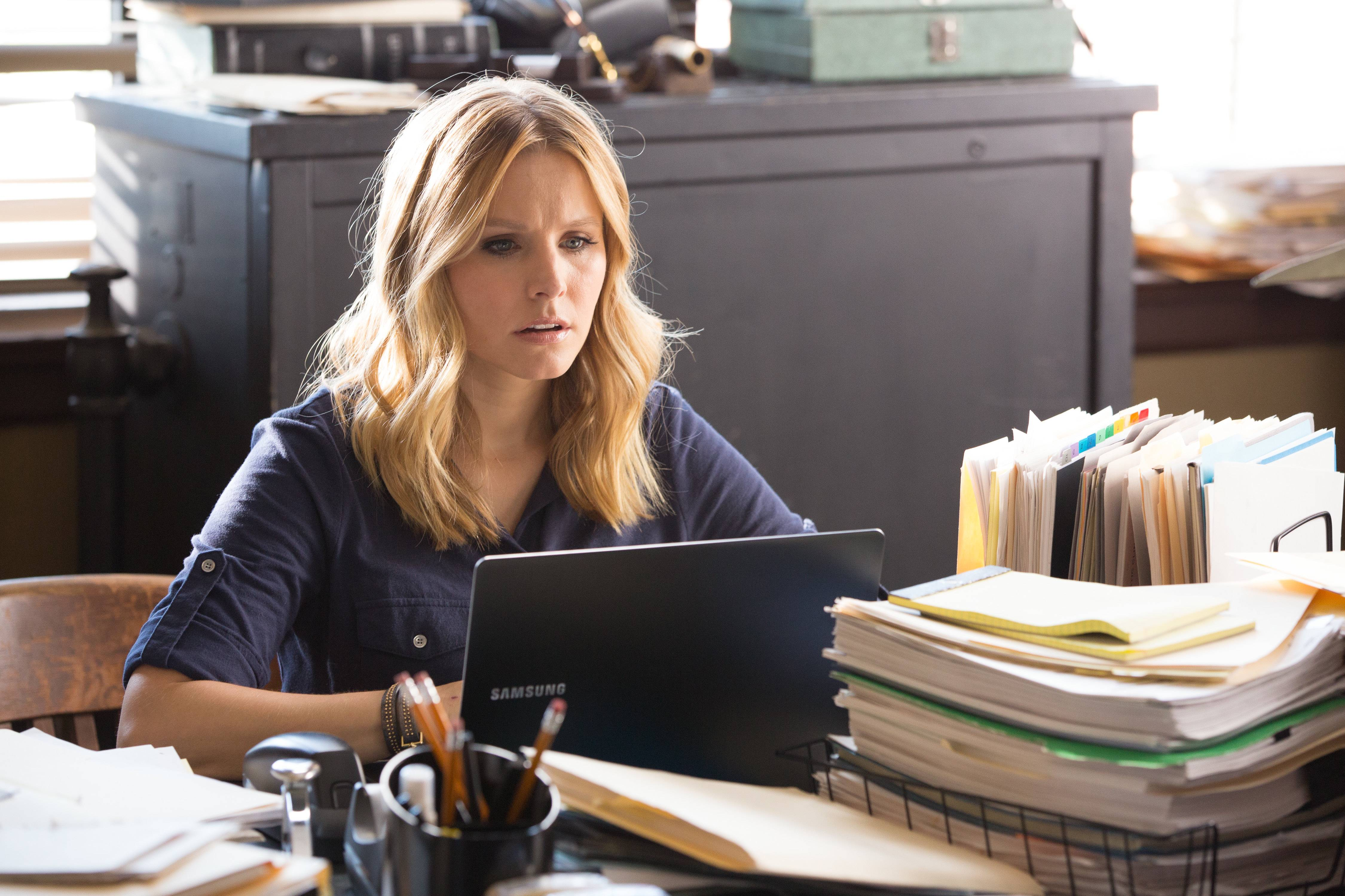 "Kristen Bell stars in the Kickstarter-funded big screen version of ""Veronica Mars,"" which brought in $2 million in limited release and made it into the top 10."