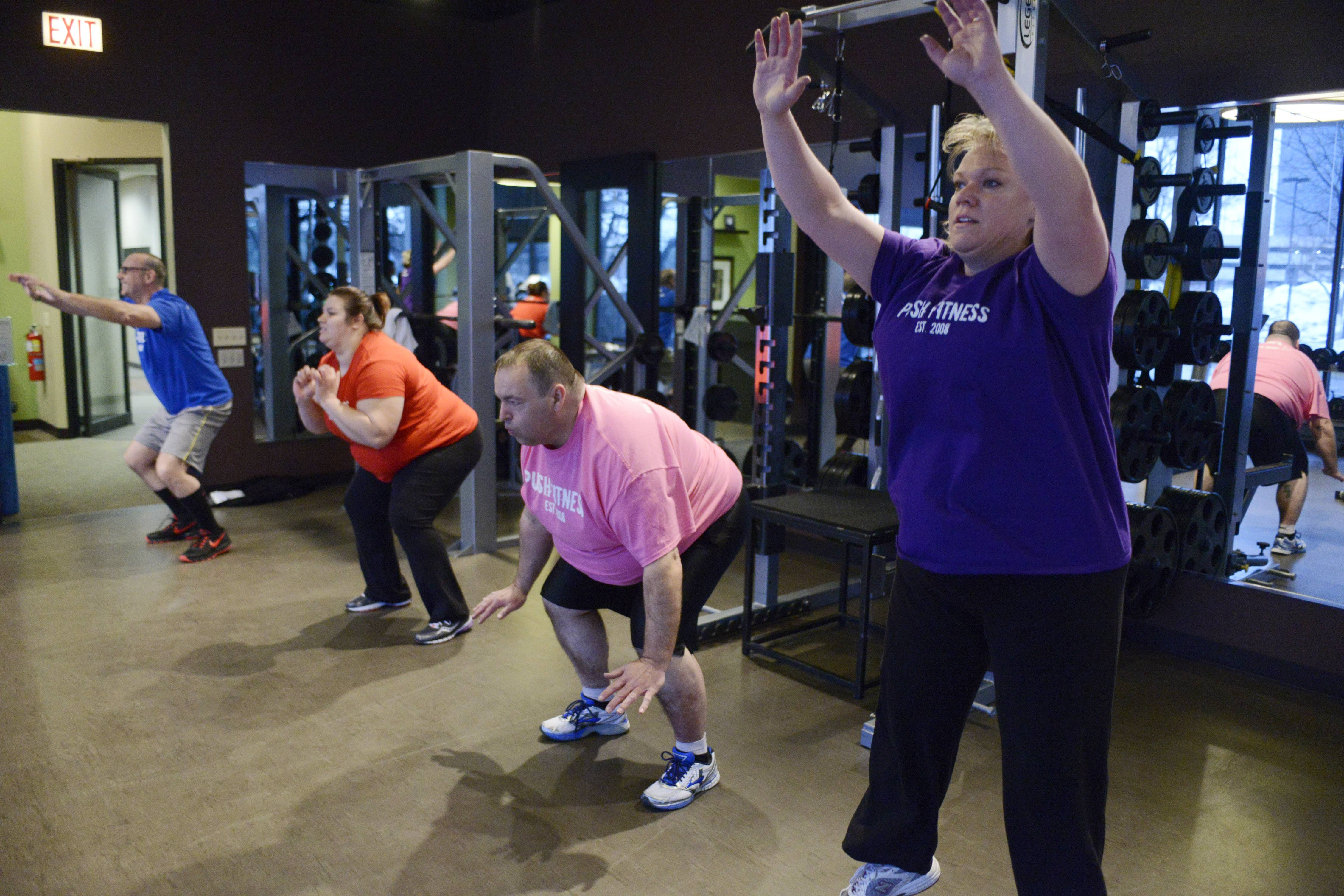 The Fittest Loser contestants meet at Push Fitness in Schaumburg every Saturday morning with boot camp instructor Brad Parotto. This week a variety of exercises were on the agenda including squat jumps.