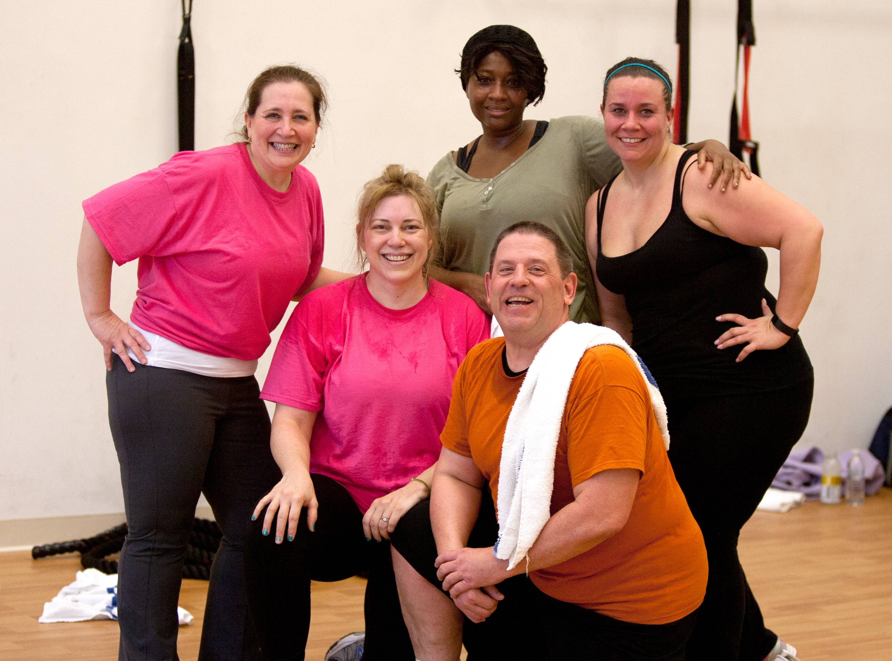 The Mount Prospect Park District community challenge team, Christina Greco, Marni Finder, Tressa Thomas, Stephanie Melka and Scott Sinclair spent Saturday morning working out at the Biggest Loser Resort at Eaglewood in Itasca.