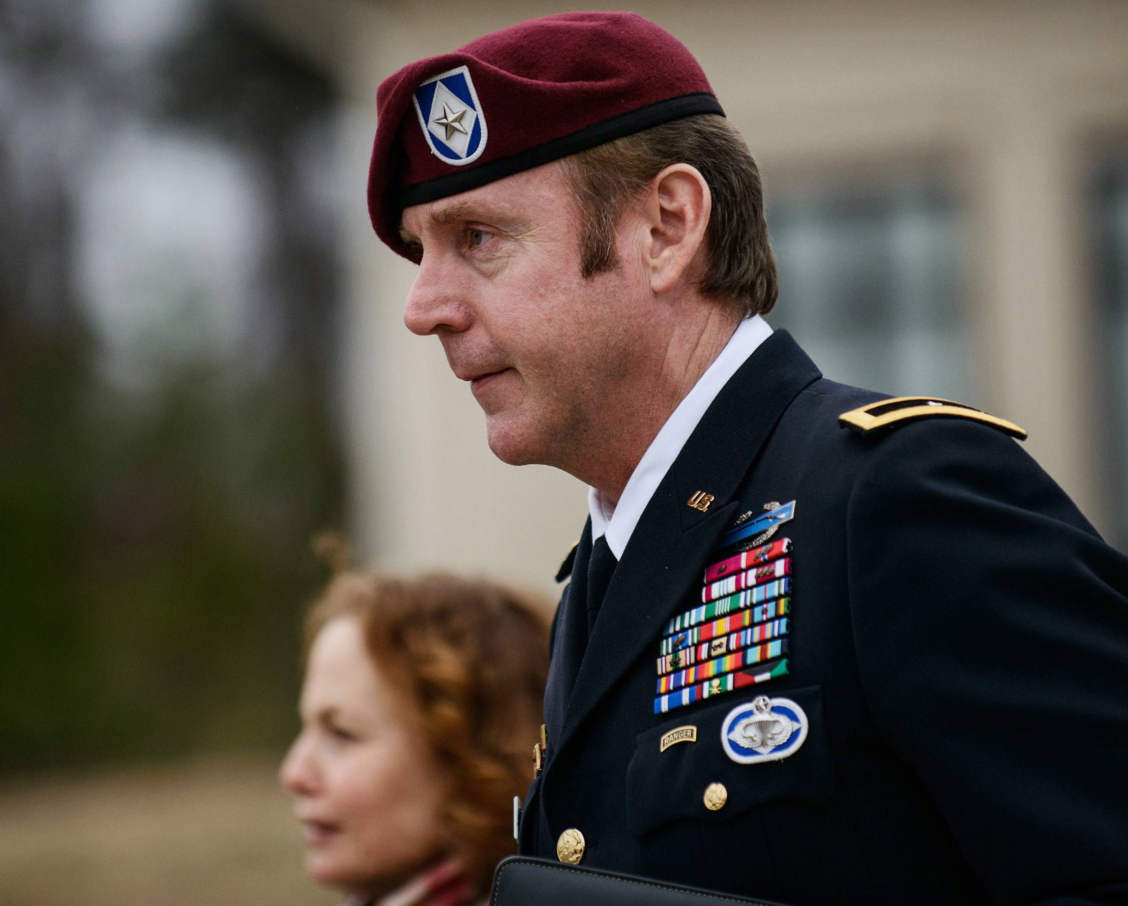 Brig. Gen. Jeffrey Sinclair, seen here on March 4, admitted Monday to improper relationships with three subordinates and appeared to choke up as he told a judge that he'd failed the female captain who had leveled the most serious accusations against him.