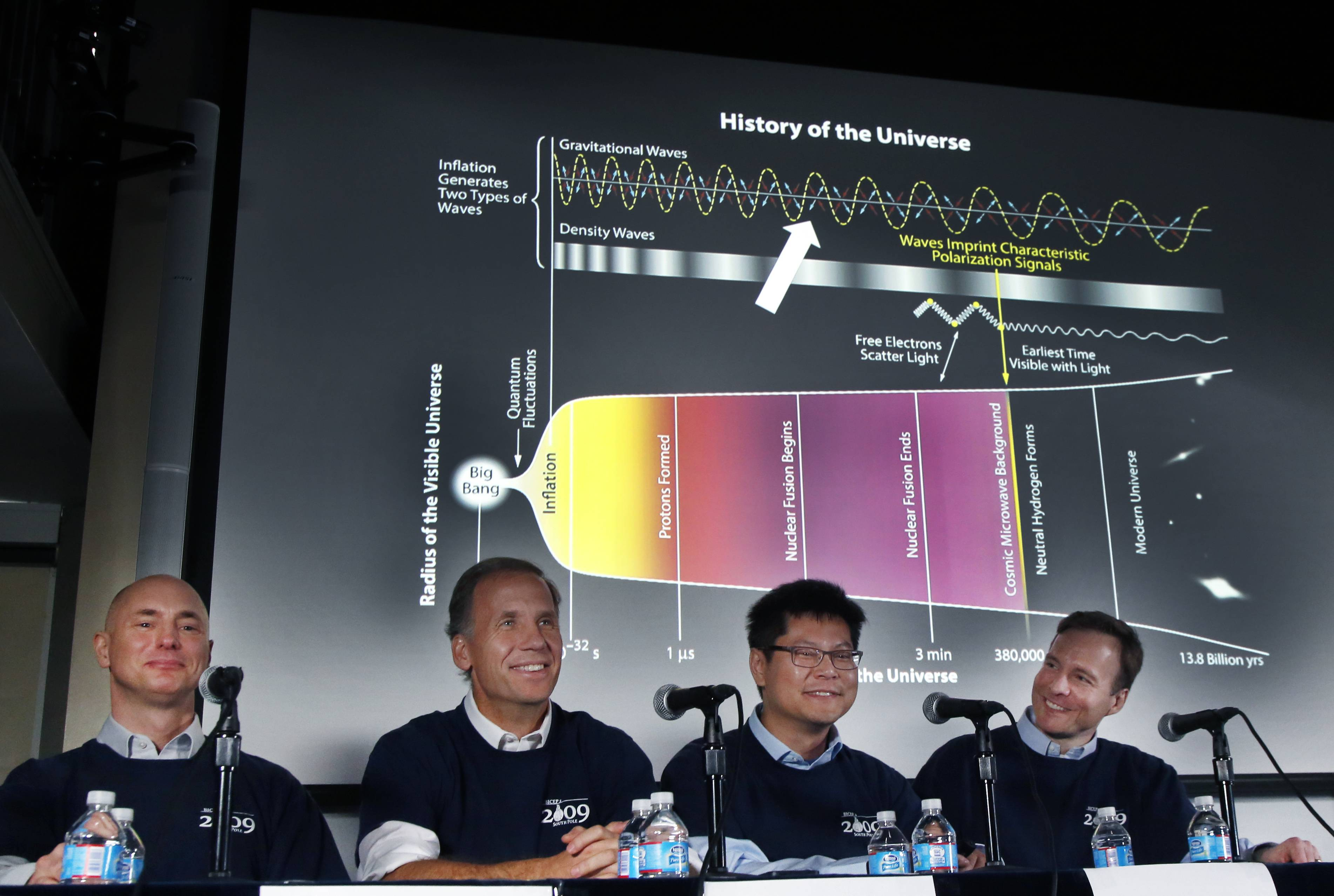 Scientists, from left, Clem Pryke, Jamie Bock, Chao-Lin Kuo and John Kovac conduct a news conference at the Harvard-Smithsonian Center for Astrophysics in Cambridge, Mass., Monday, regarding their new findings on the early expansion of the universe.