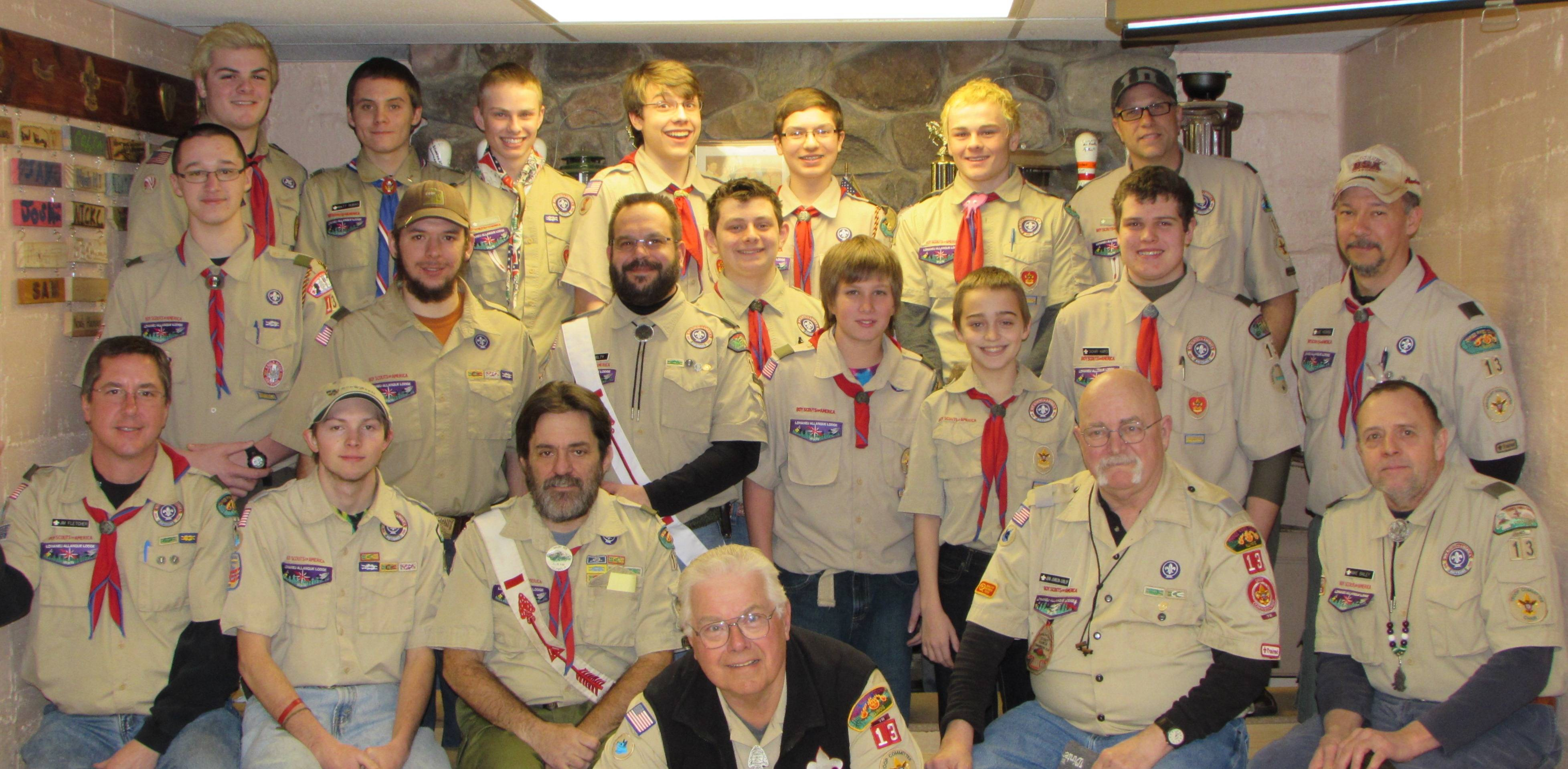 Boy Scout Troop 13 with Bethlehem Lutheran Church in St. Charles has many Scouts who are Order of Arrow members.