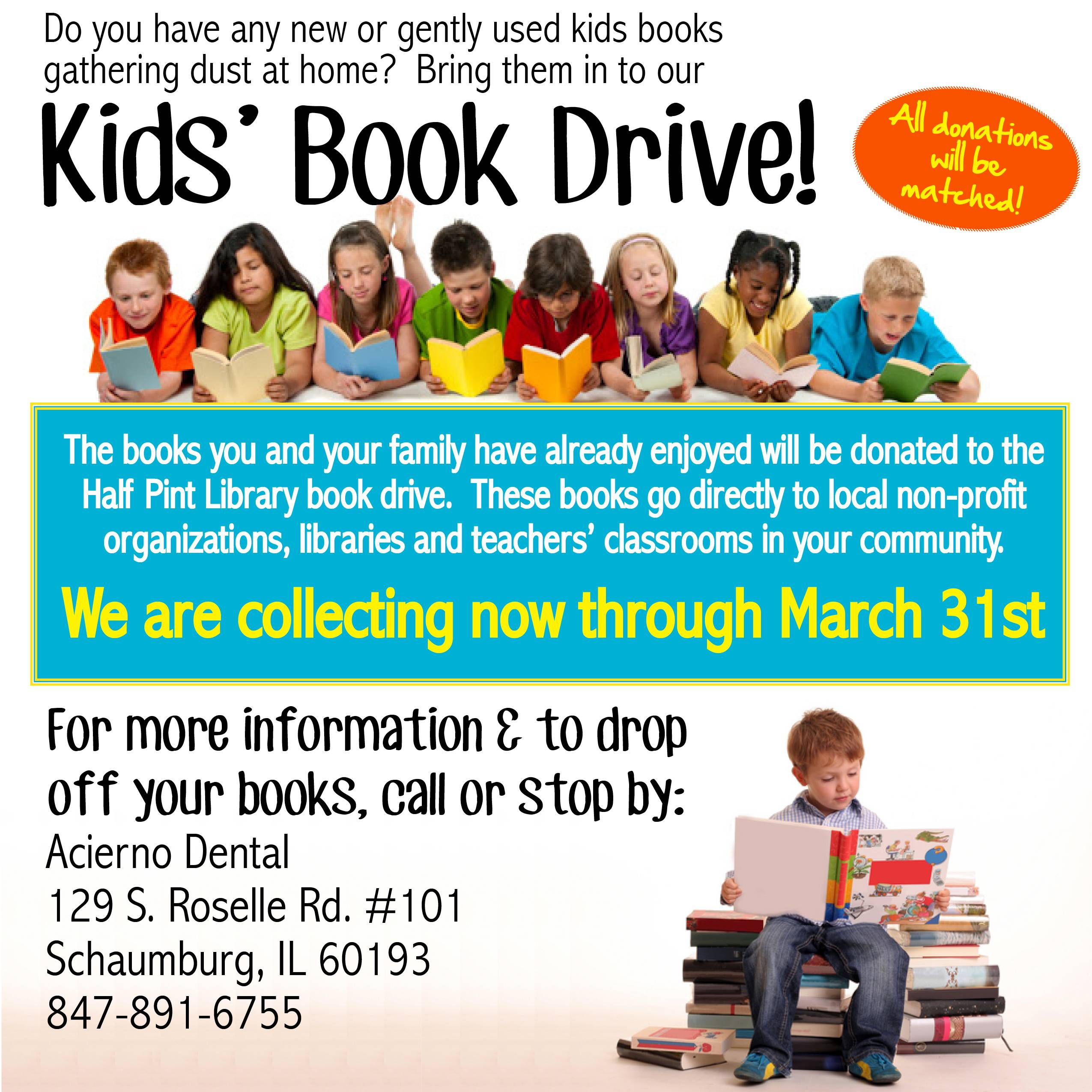 Join us at our book drive this March at Acierno Dental