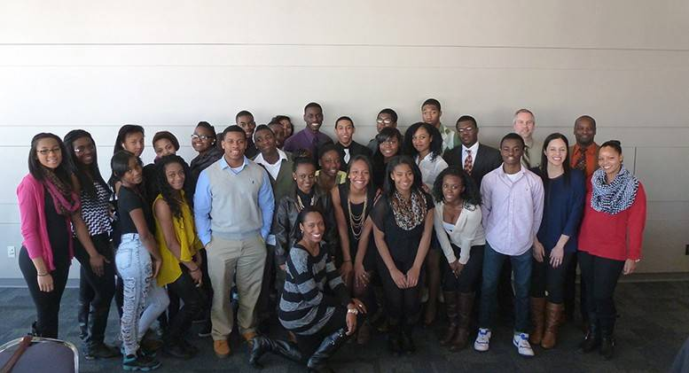 On Feb. 27, the 26 Fremd High School attendees pose for a photo at Harper College's Black Teen Symposium.