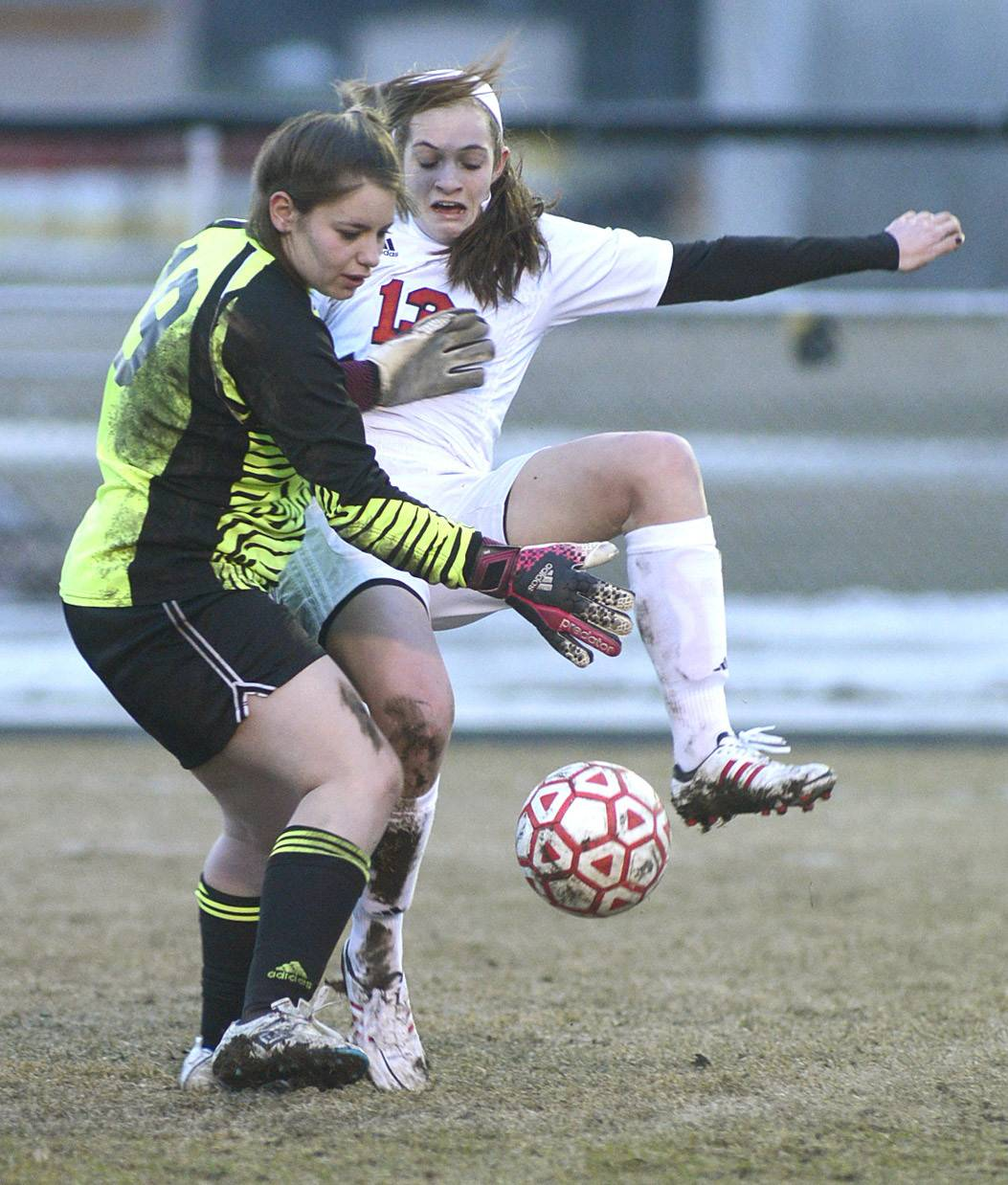 Batavia's Mackenzie Foster collides with Plainfield Central goalie Tiffany Lenza while trying to kick the ball past her during the Bulldogs' 5-0 win Tuesday in Batavia.