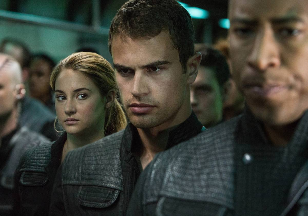 "Shailene Woodley, left, and Theo James star in the film version of ""Divergent."""