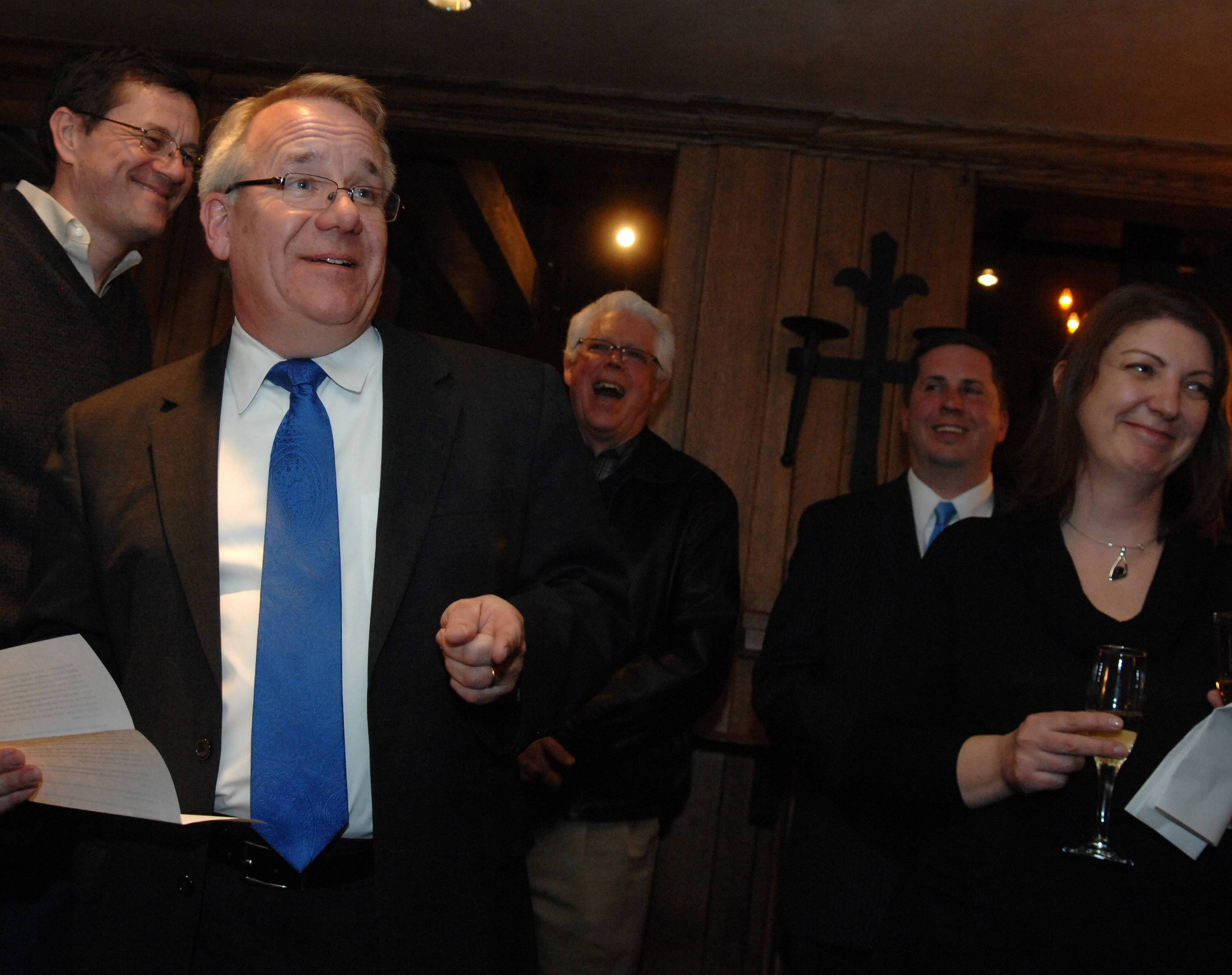 Steve Andersson of Geneva gets a laugh during his victory speech after winning the Republican nomination for state 65th House District representative Tuesday. His Election Night party was at Village Squire in South Elgin.
