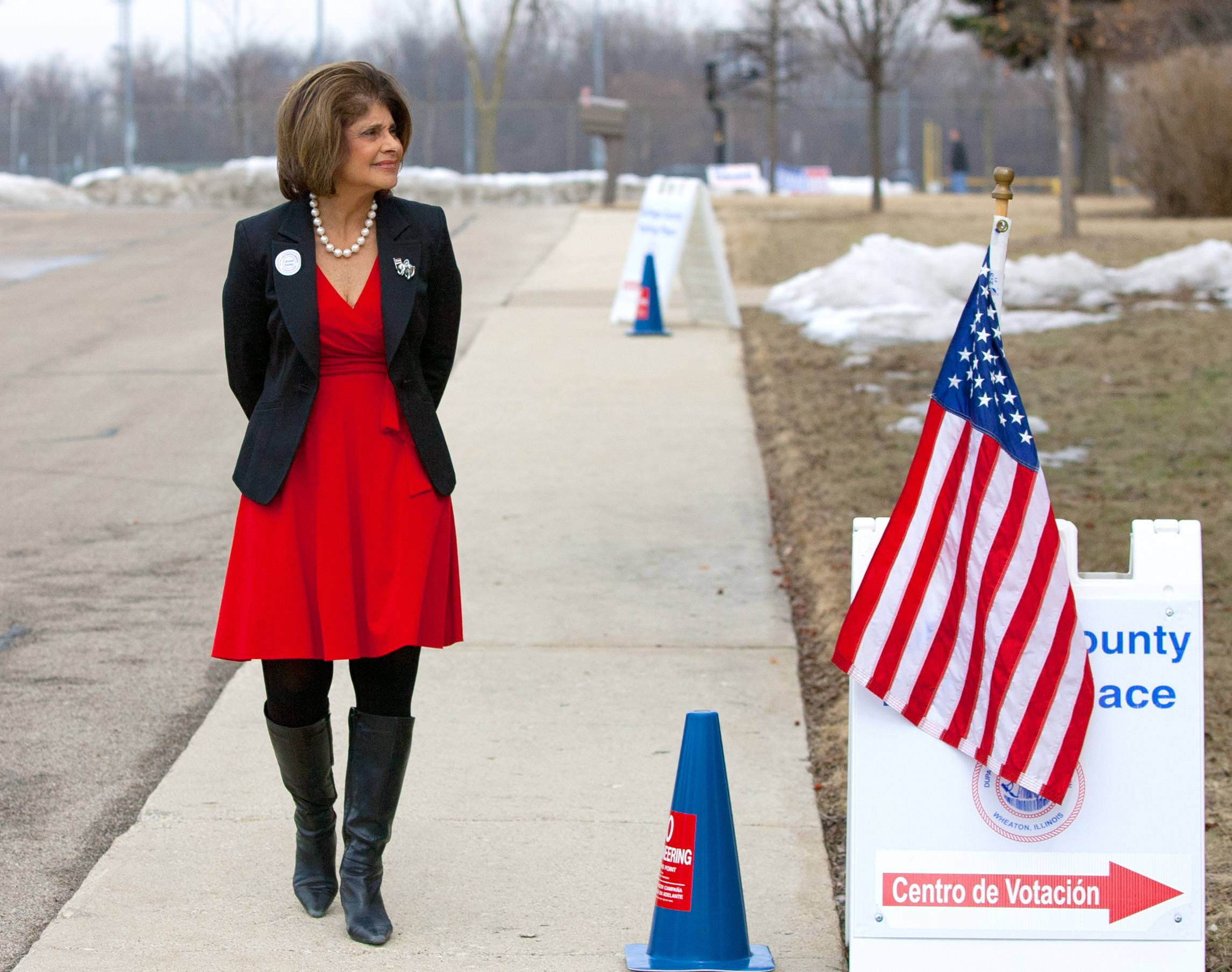 Rep. Sandra Pihos of the 48th House district voted at the Village Green Baptist Church in Glen Ellyn.