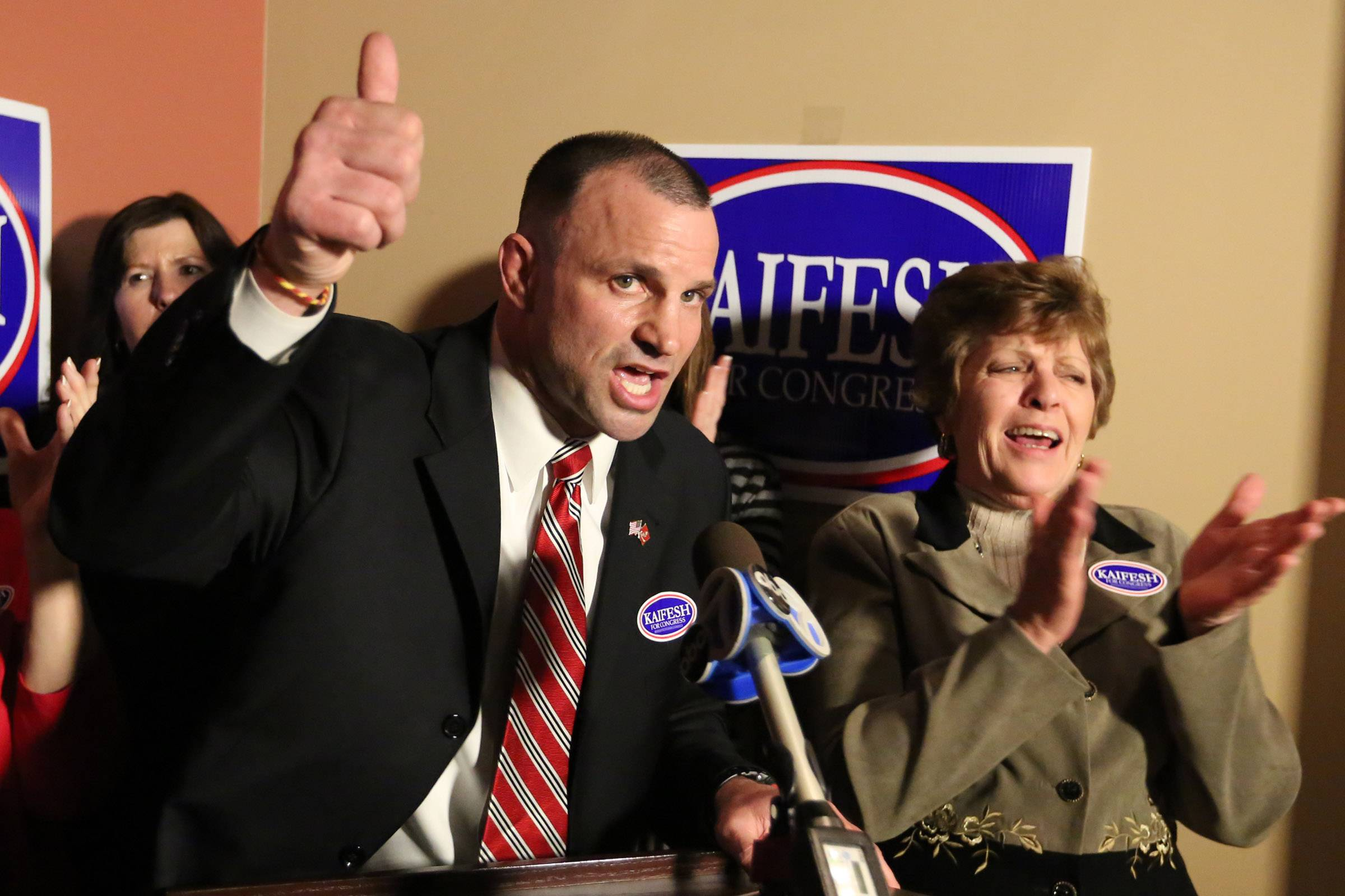 Larry Kaifesh says thank you to supporters at Strike Ten Lanes on Tuesday in Roselle after claiming victory and the Republican nomination in the 8th Congressional District.