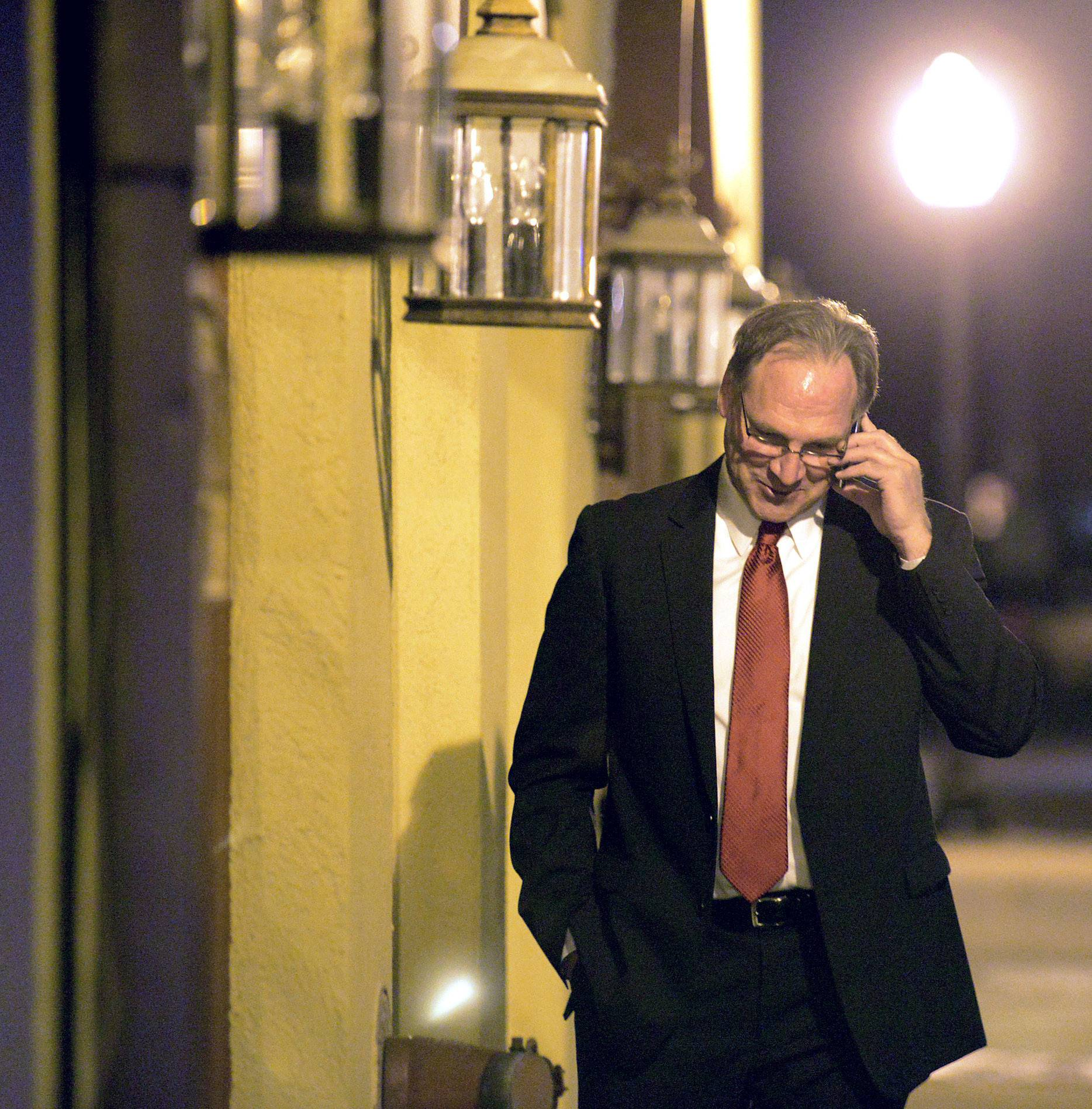 Kane County Sheriff Republican candidate Don Kramer returns phone calls outside his election night gathering in Geneva after claiming victory in the nomination for Sheriff .
