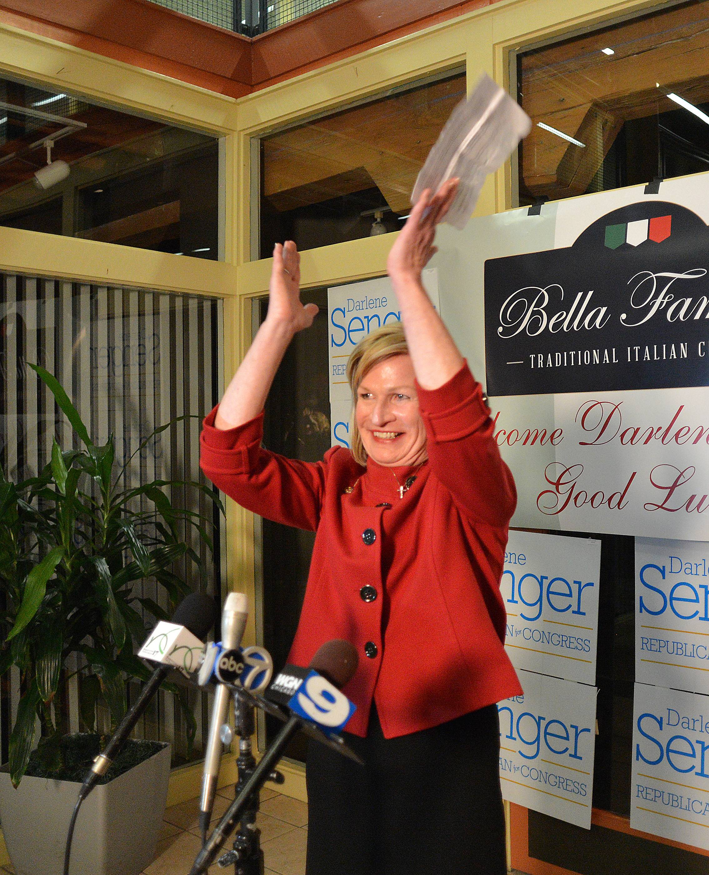 11th Congressional candidate Darlene Senger of Naperville claims victory.