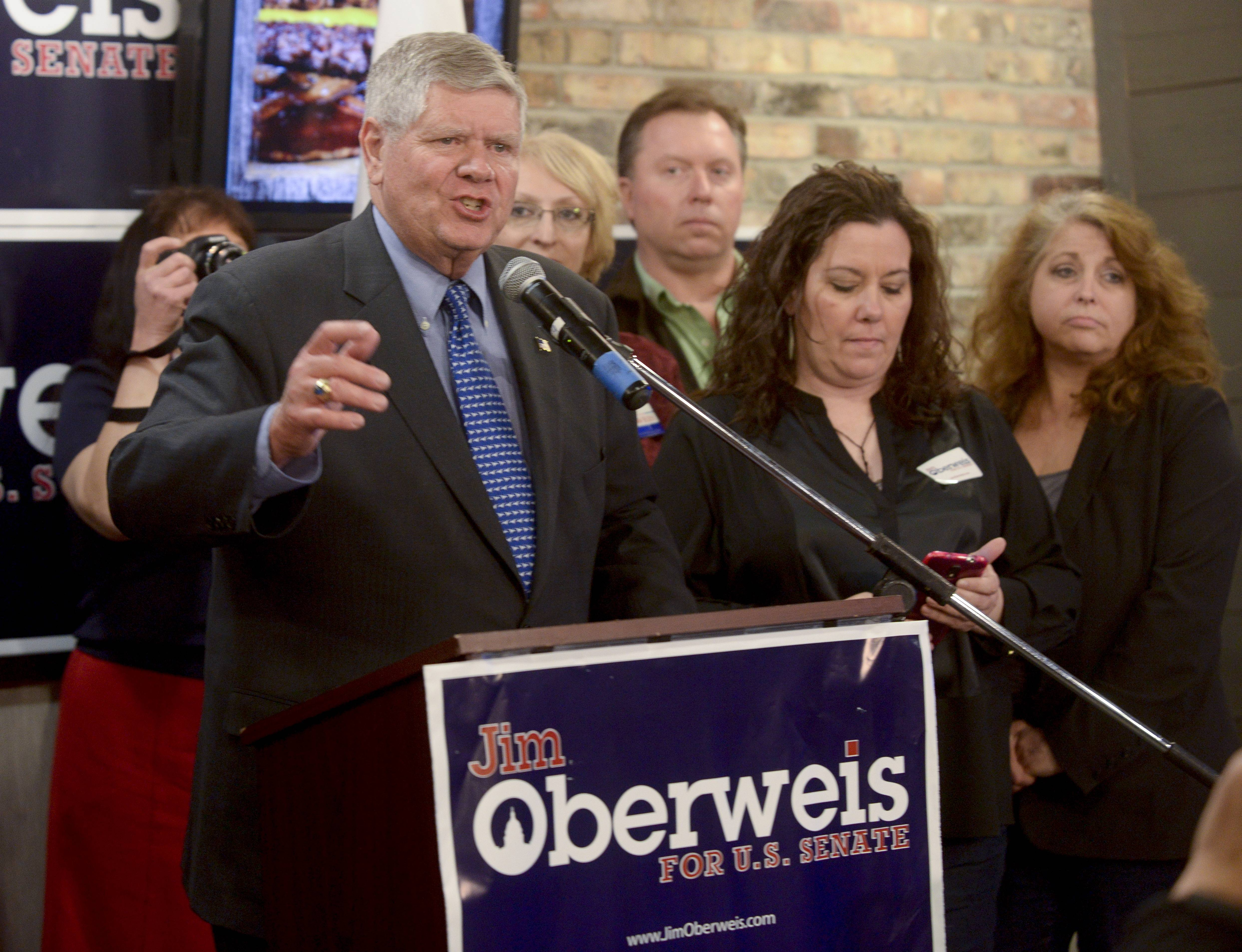 Jim Oberweis speaks after winning the Republican nomination for the U.S. Senate. Overweis will now face Democratic Sen. Dick Durbin in the general election this coming November.