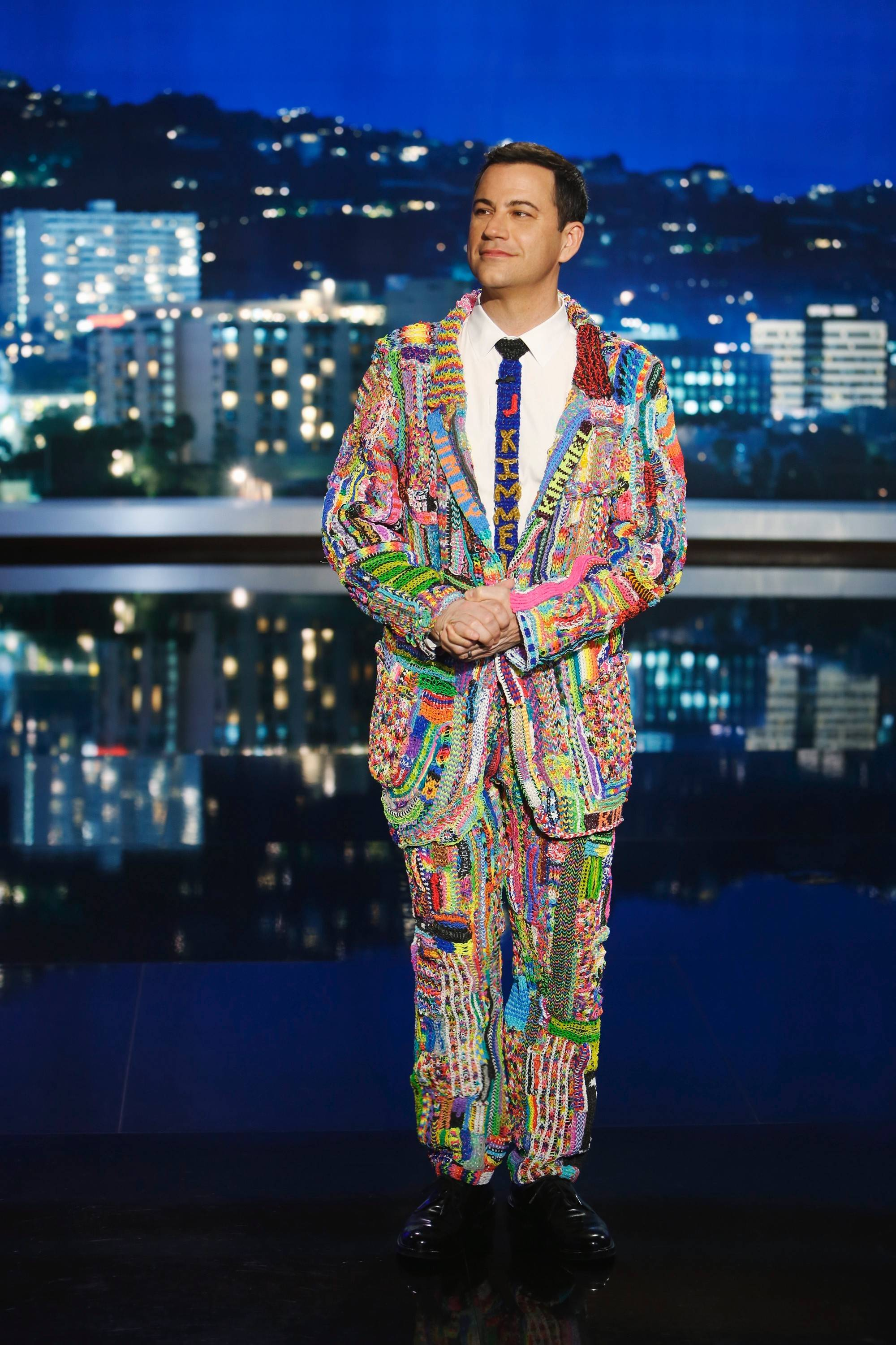 "Calling it his ""Suit of the Loom,"" the star of ""Jimmy Kimmel Live"" models an outfit made entirely out of rubber bands. The suit, which will be on display Sunday before the Chicago Wolves game, was made by children using Rainbow Loom kits."