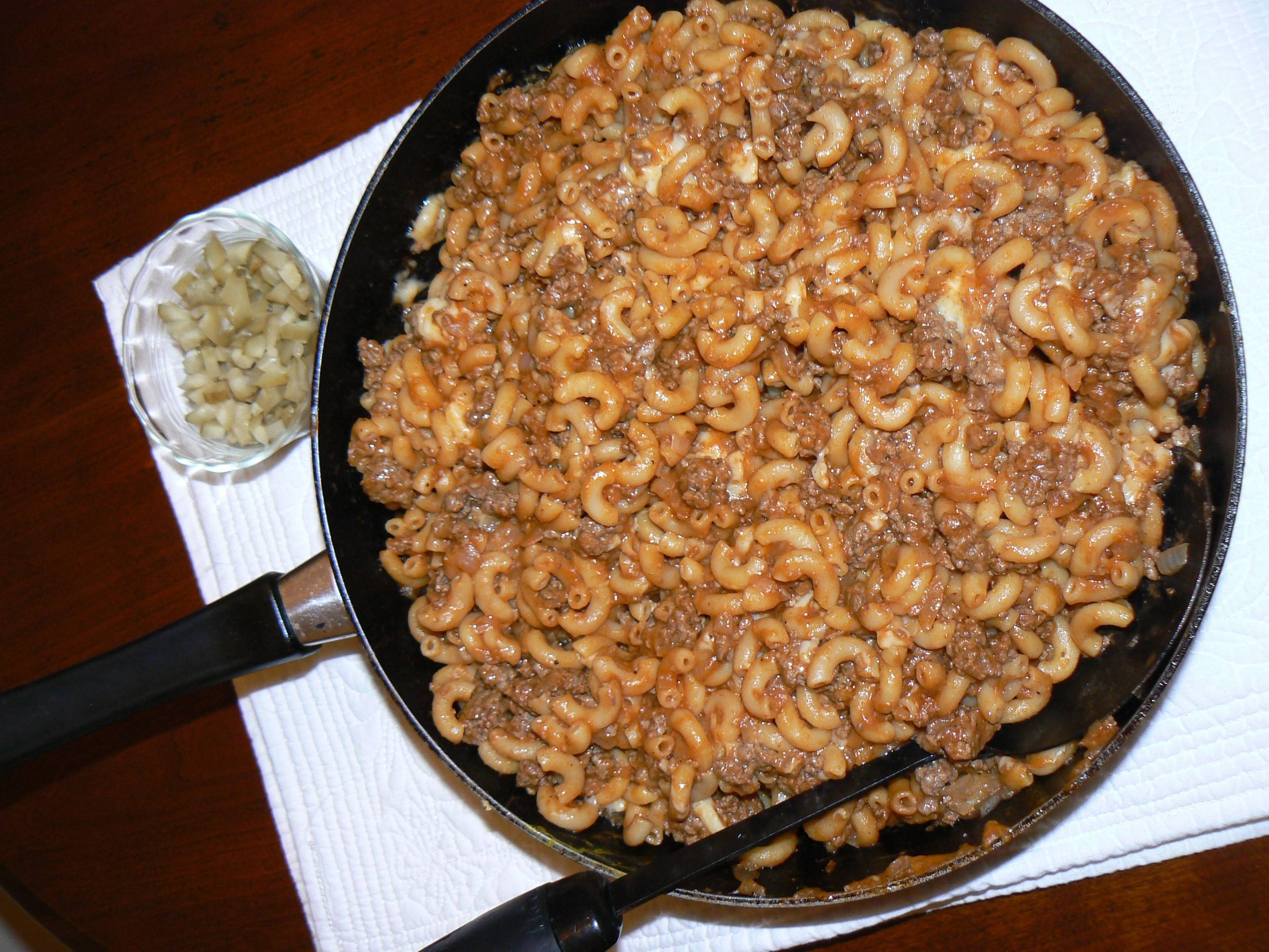 Don Mauer's healthier version of a boxed skillet meal uses lean ground beef and low-sodium broth.