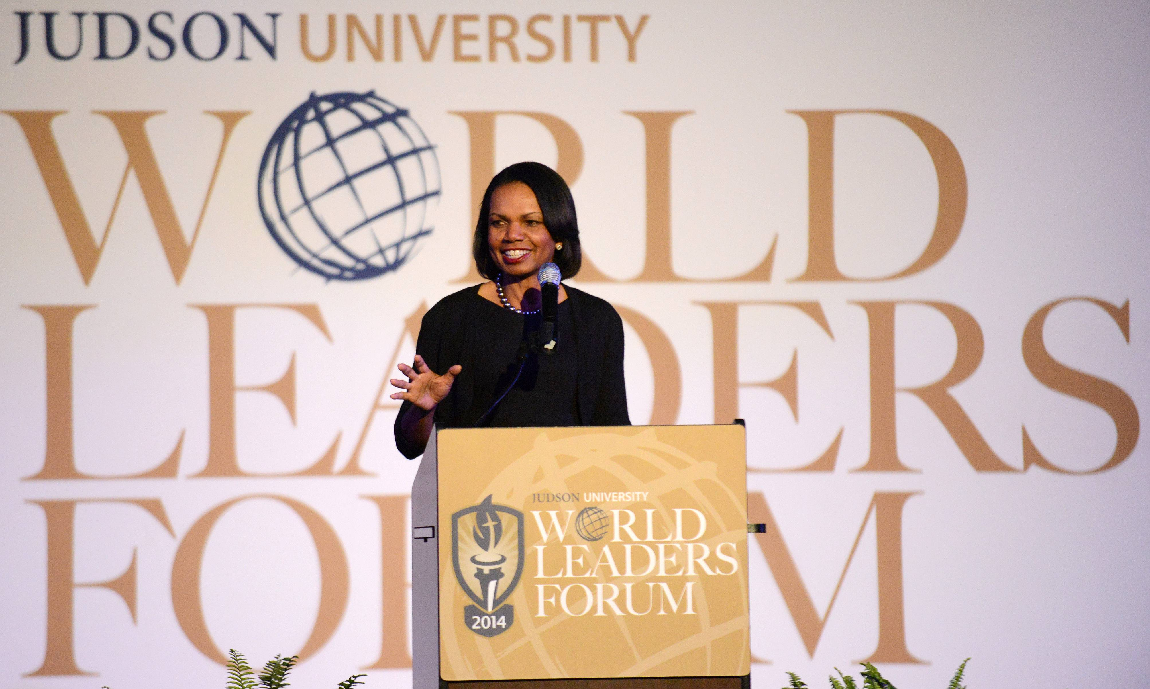 Former Secretary of State Condoleezza Rice gives the keynote speech Wednesday at Judson University's fourth annual World Leaders Forum in Elgin.