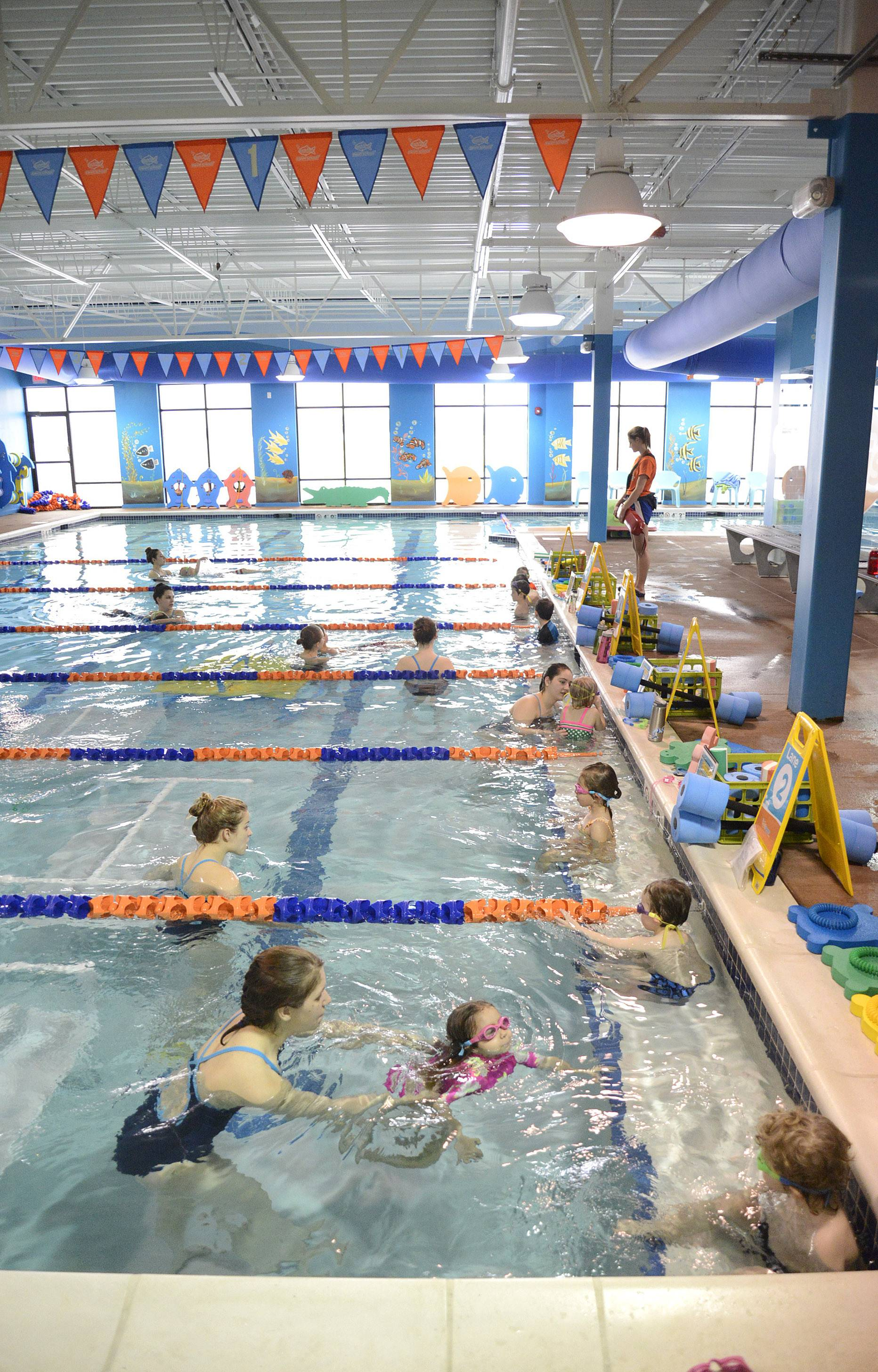 Swim classes are held Saturday mornings at Goldfish Swim School in St. Charles.