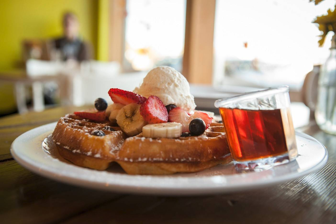 Courageous Bakery offers waffles on its new weekend brunch menu.